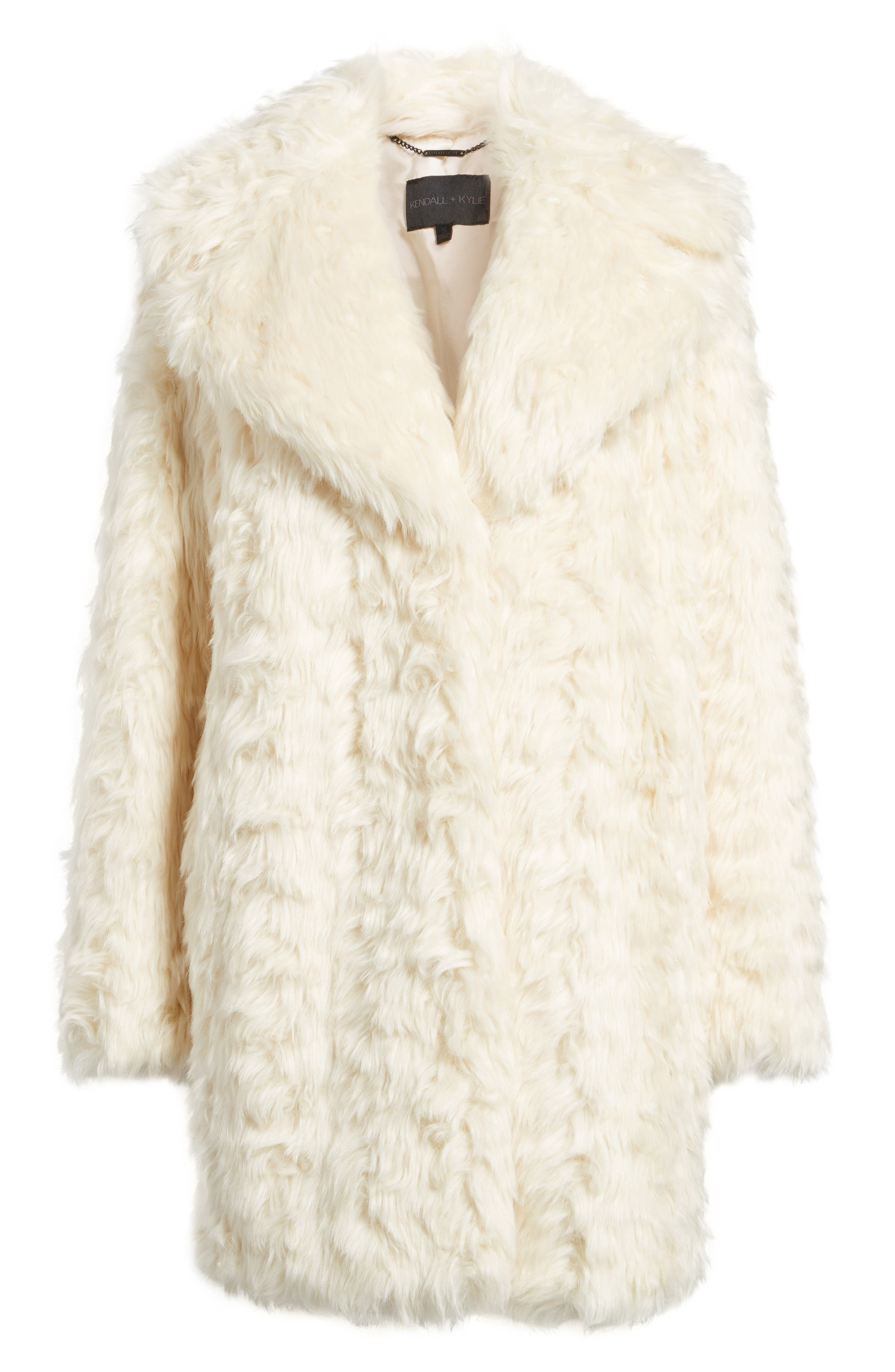 Curly Faux Fur Coat,                             Alternate thumbnail 6, color,                             Ivory