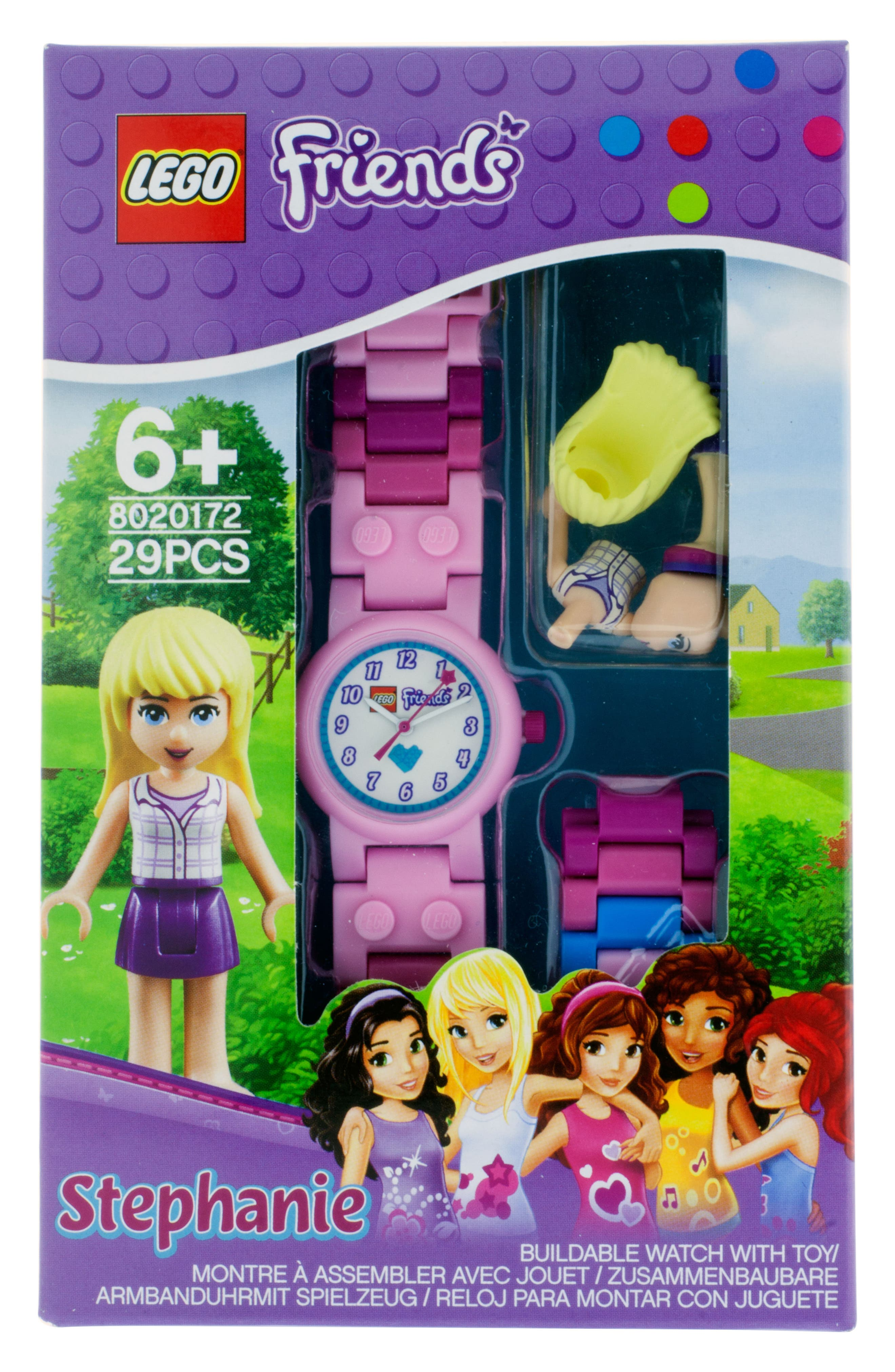 29-Piece LEGO Friends Stephanie Buildable Water-Resistant Watch & Figurine Set,                             Alternate thumbnail 3, color,                             Pink