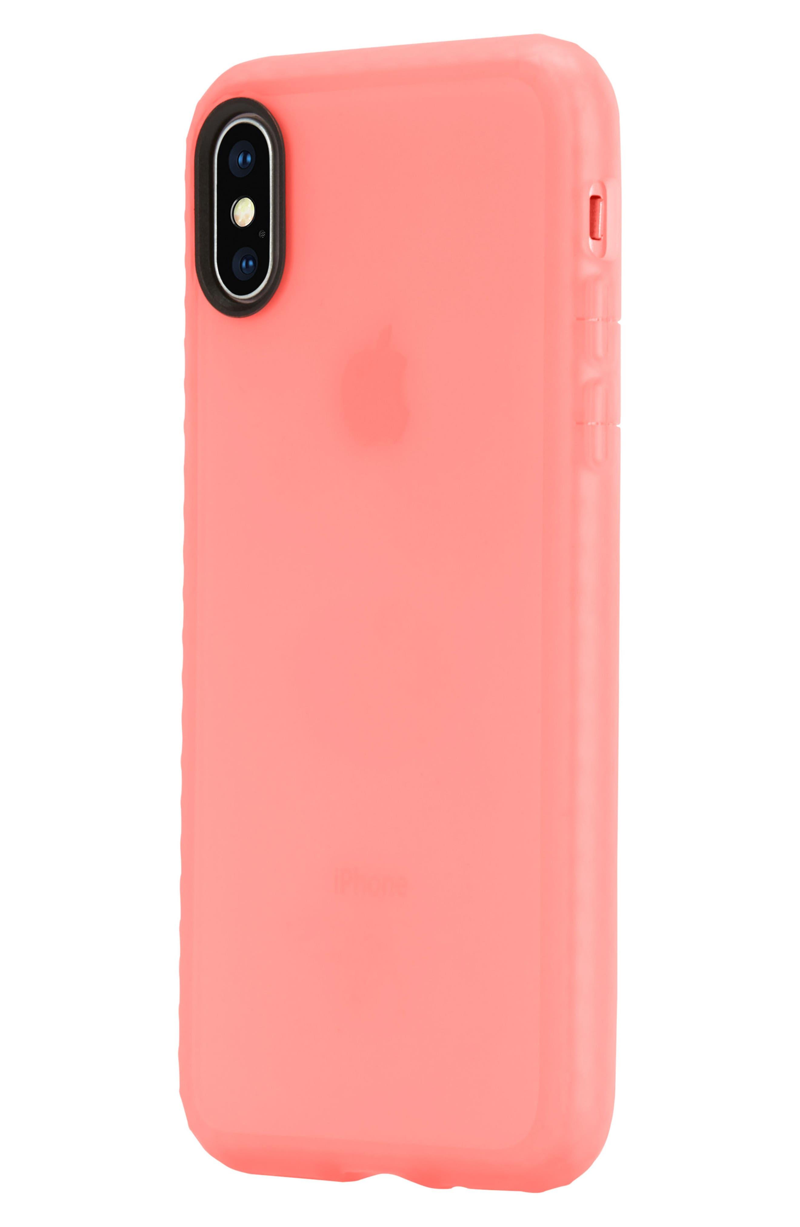 Protective Lattice iPhone X Case,                             Alternate thumbnail 3, color,                             Coral