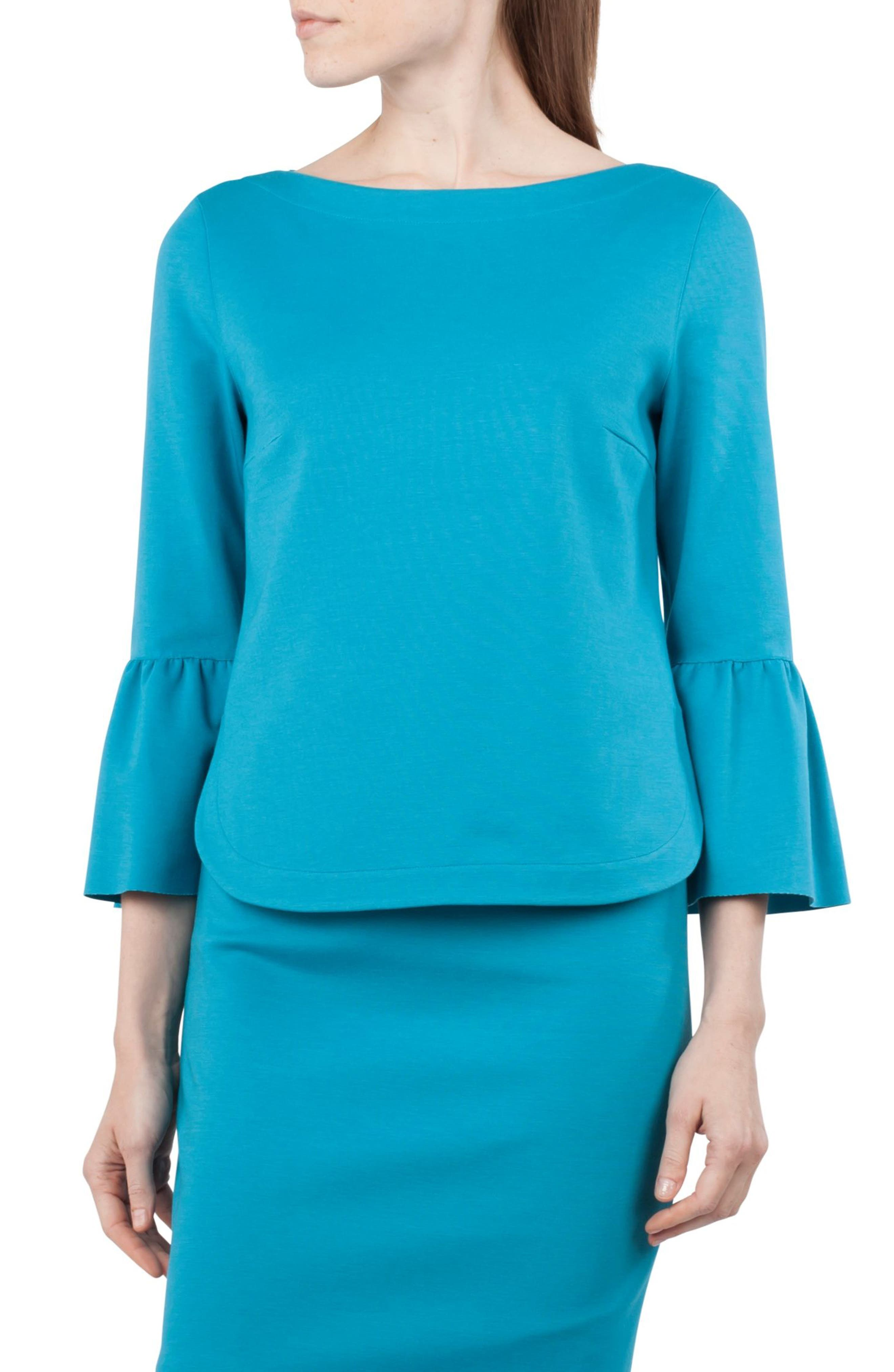 Ruffle Sleeve Top,                         Main,                         color, Turquoise