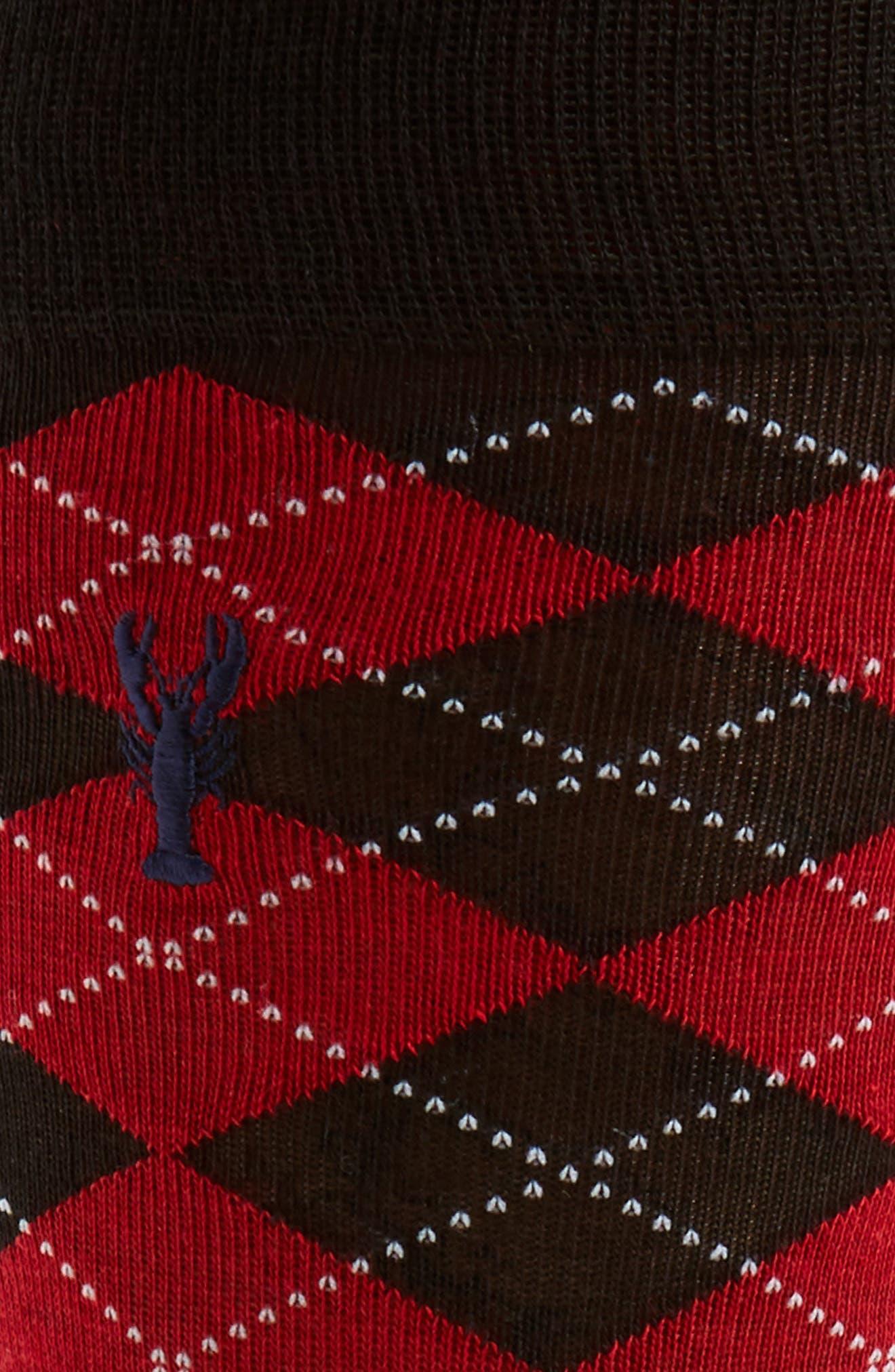 Pinch Argyle Socks,                             Alternate thumbnail 2, color,                             Black/ Red