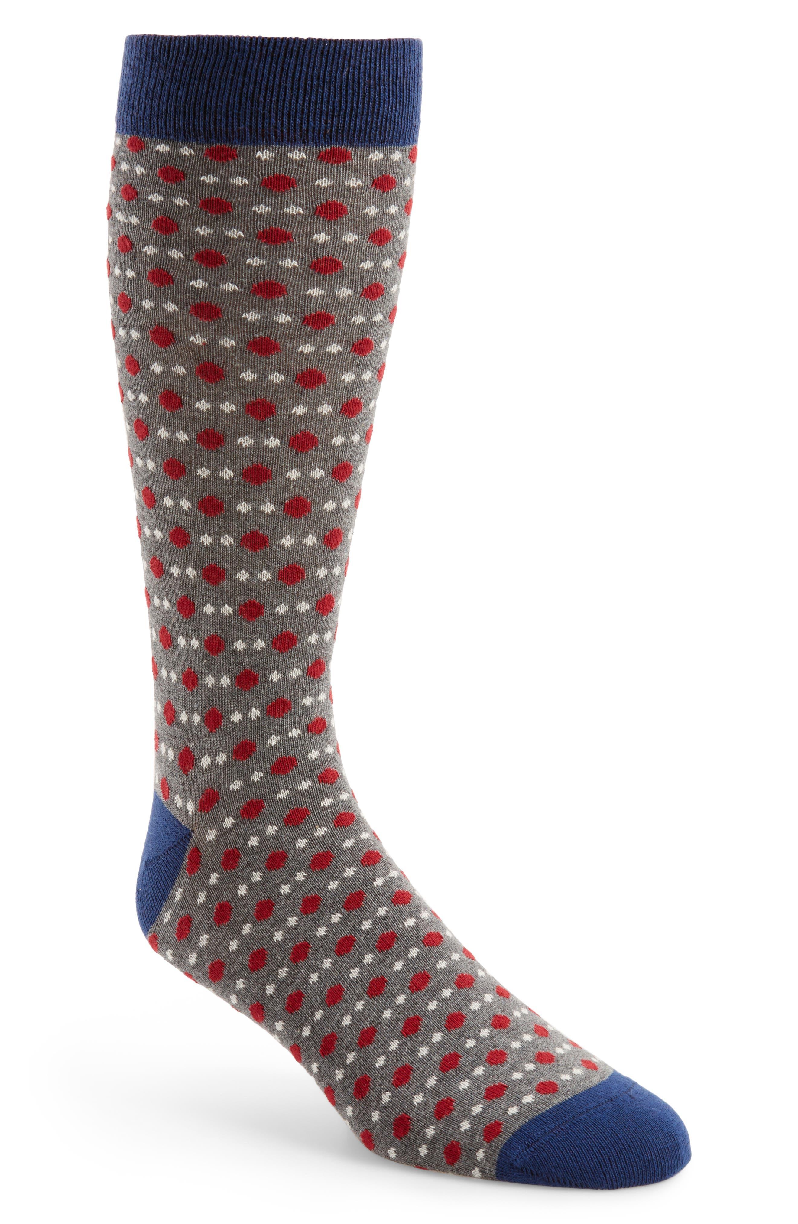 Polka Dot Socks,                         Main,                         color, Grey