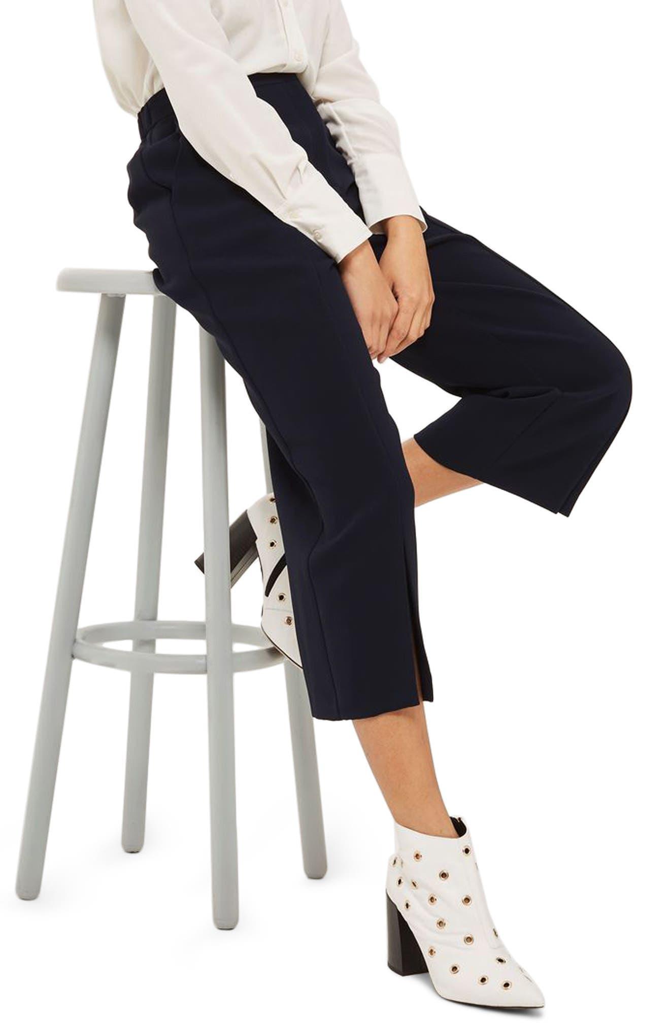 Split Hem Crop Pants,                             Main thumbnail 1, color,                             Navy Blue