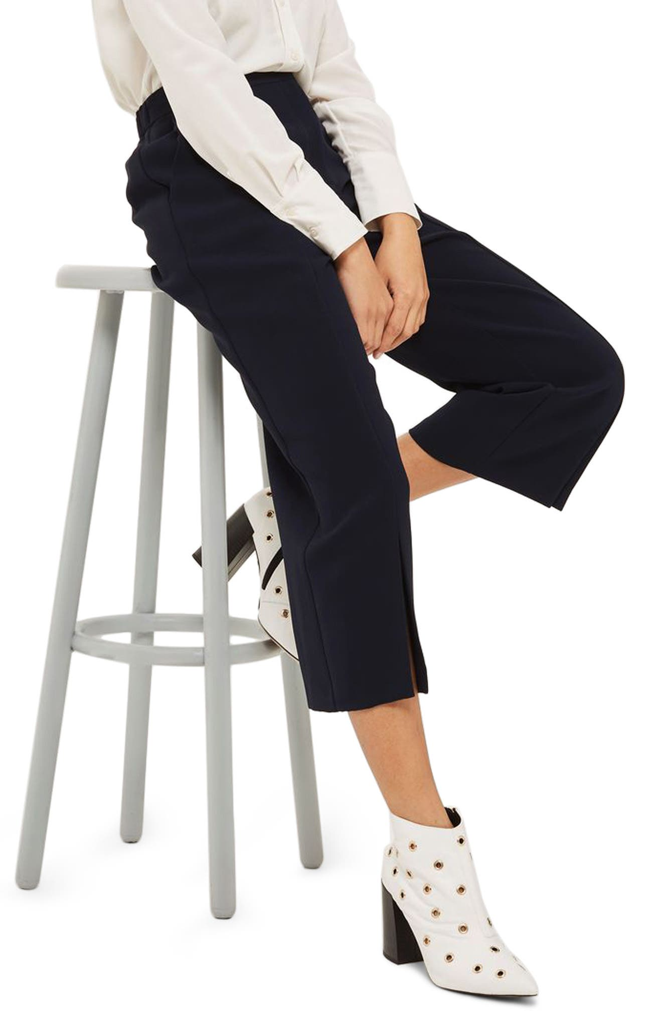 Split Hem Crop Pants,                         Main,                         color, Navy Blue