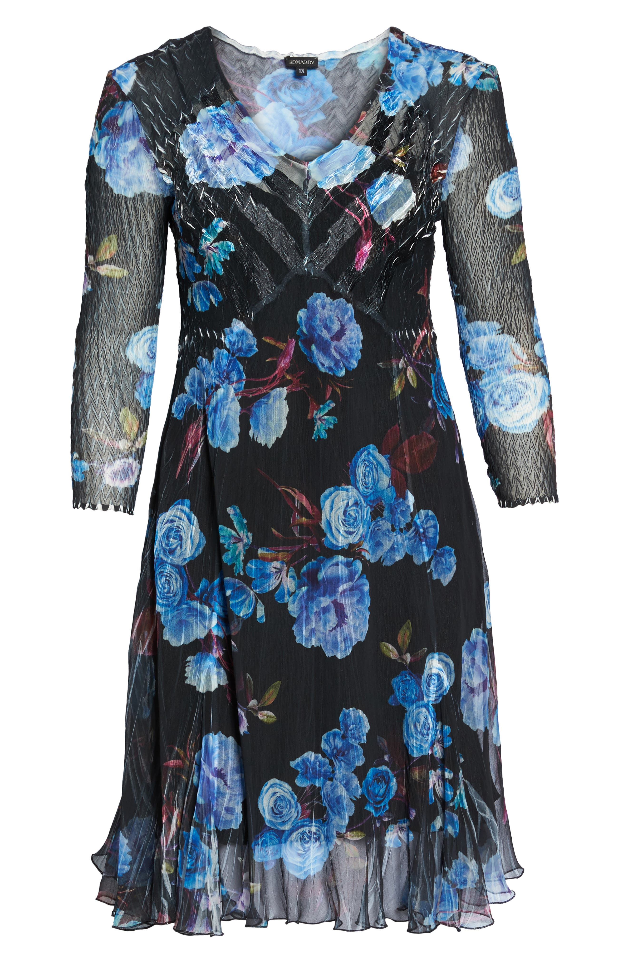 Floral Charmeuse & Chiffon A-Line Dress,                             Alternate thumbnail 6, color,                             Midnight Aurora