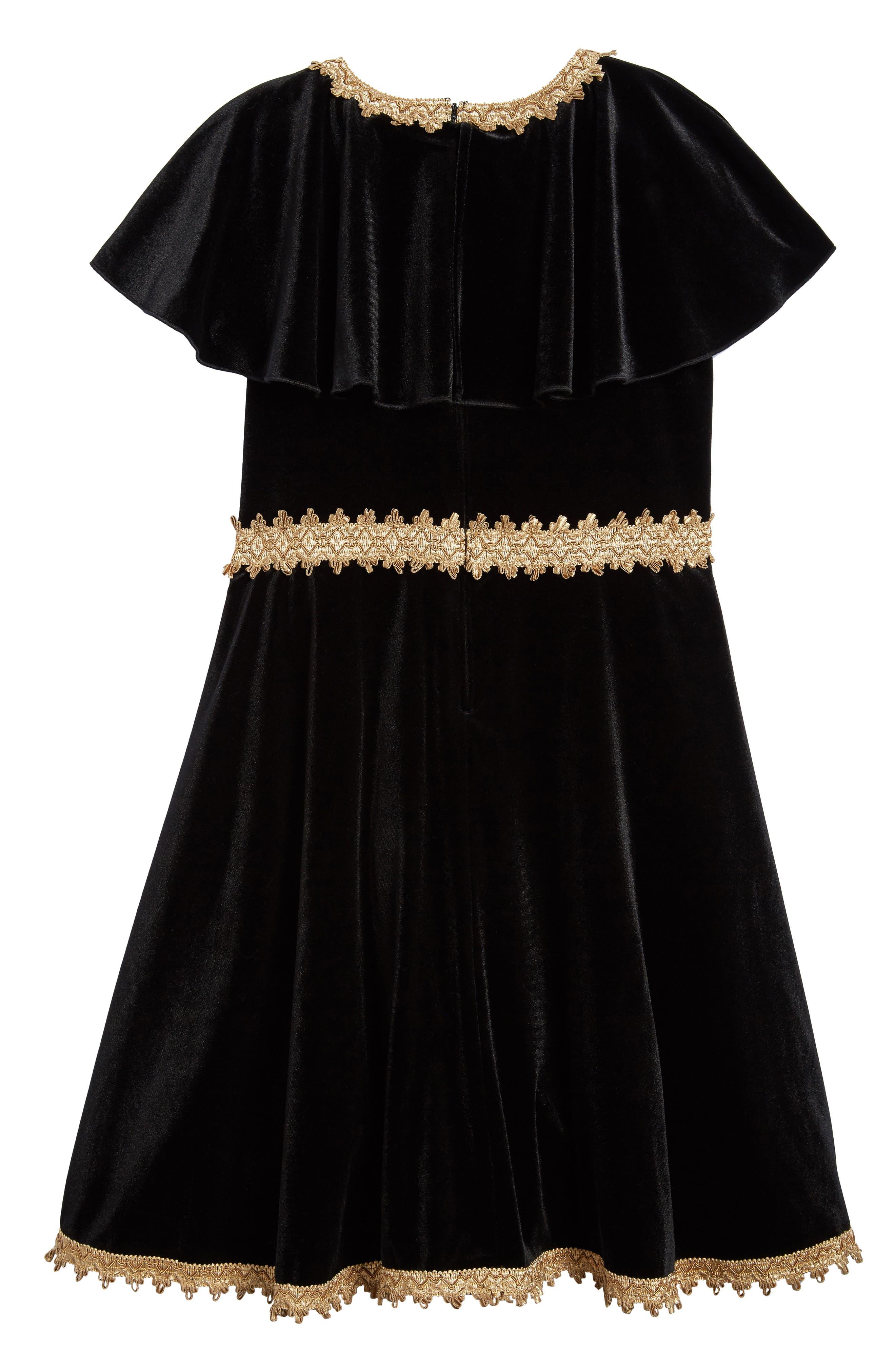 Velvet Dress,                             Alternate thumbnail 2, color,                             Black/ Gold