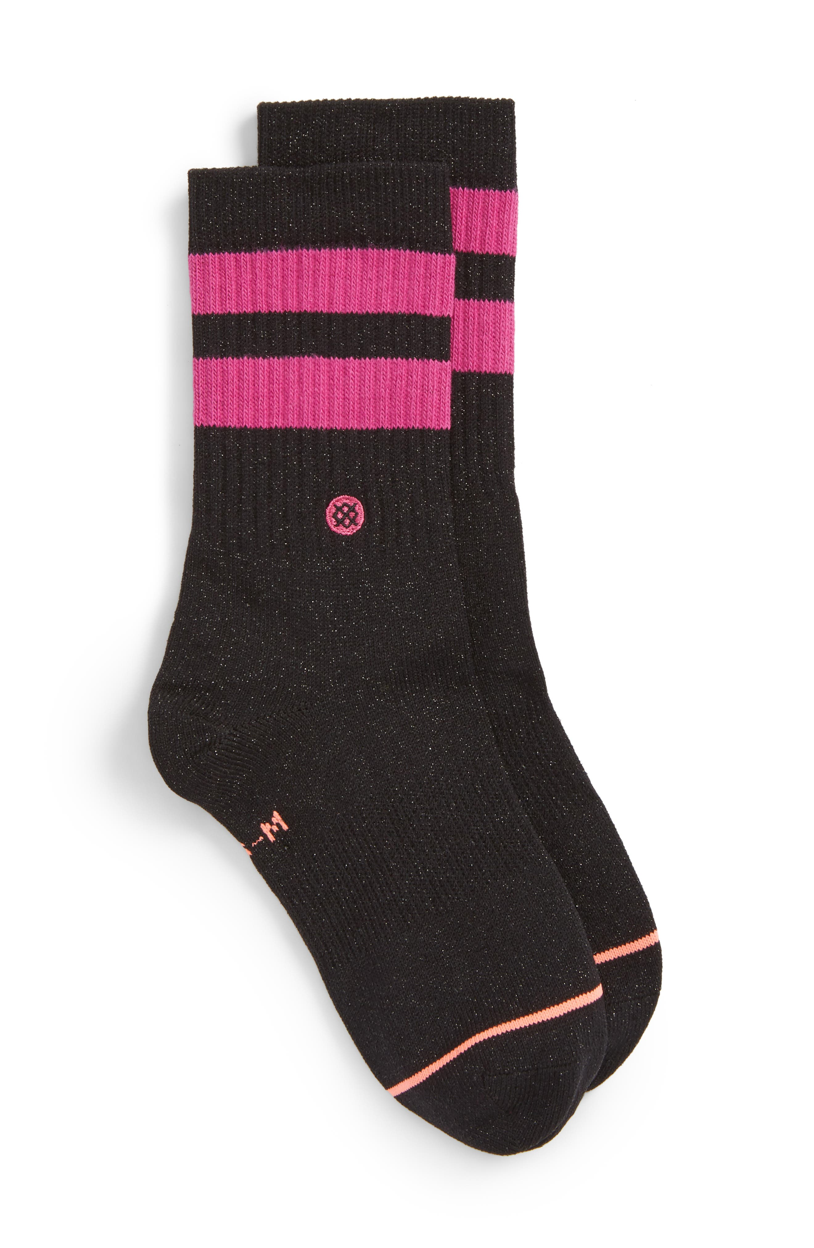 Harmony Crew Socks,                             Main thumbnail 1, color,                             Black