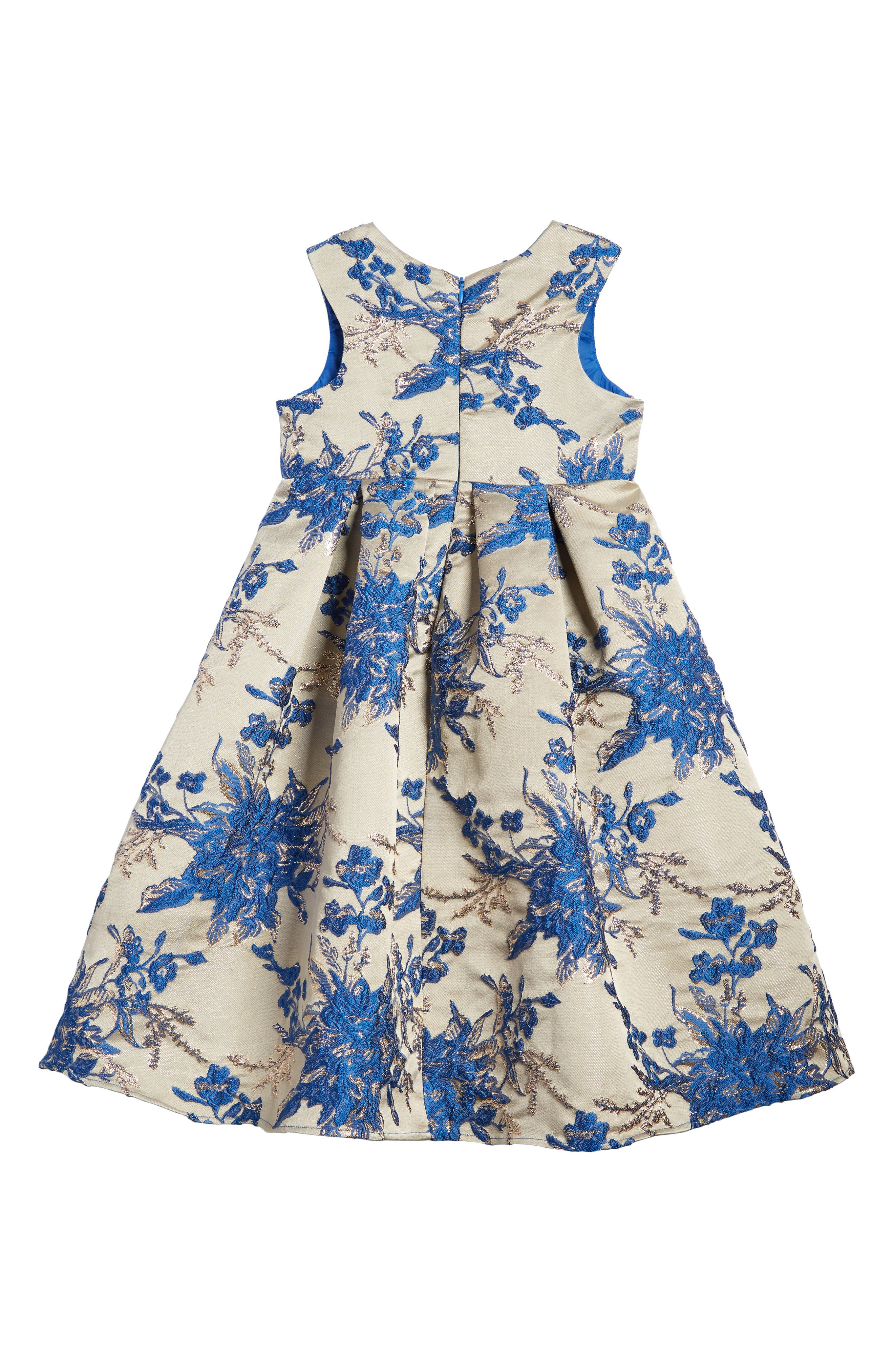 Floral Embroidered Babydoll Dress,                             Alternate thumbnail 2, color,                             Gold/ Blue