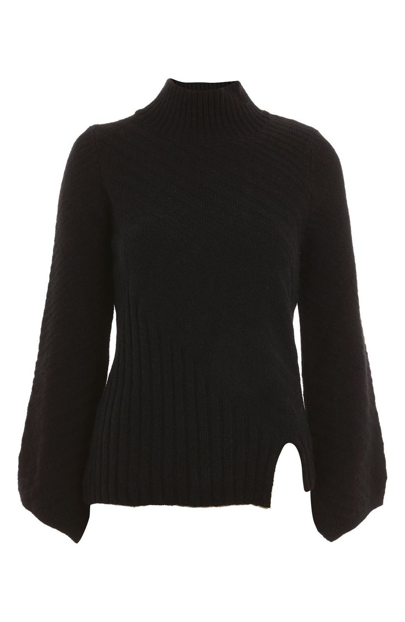 Asymmetrical Ribbed Funnel Neck Sweater,                             Alternate thumbnail 4, color,                             Black
