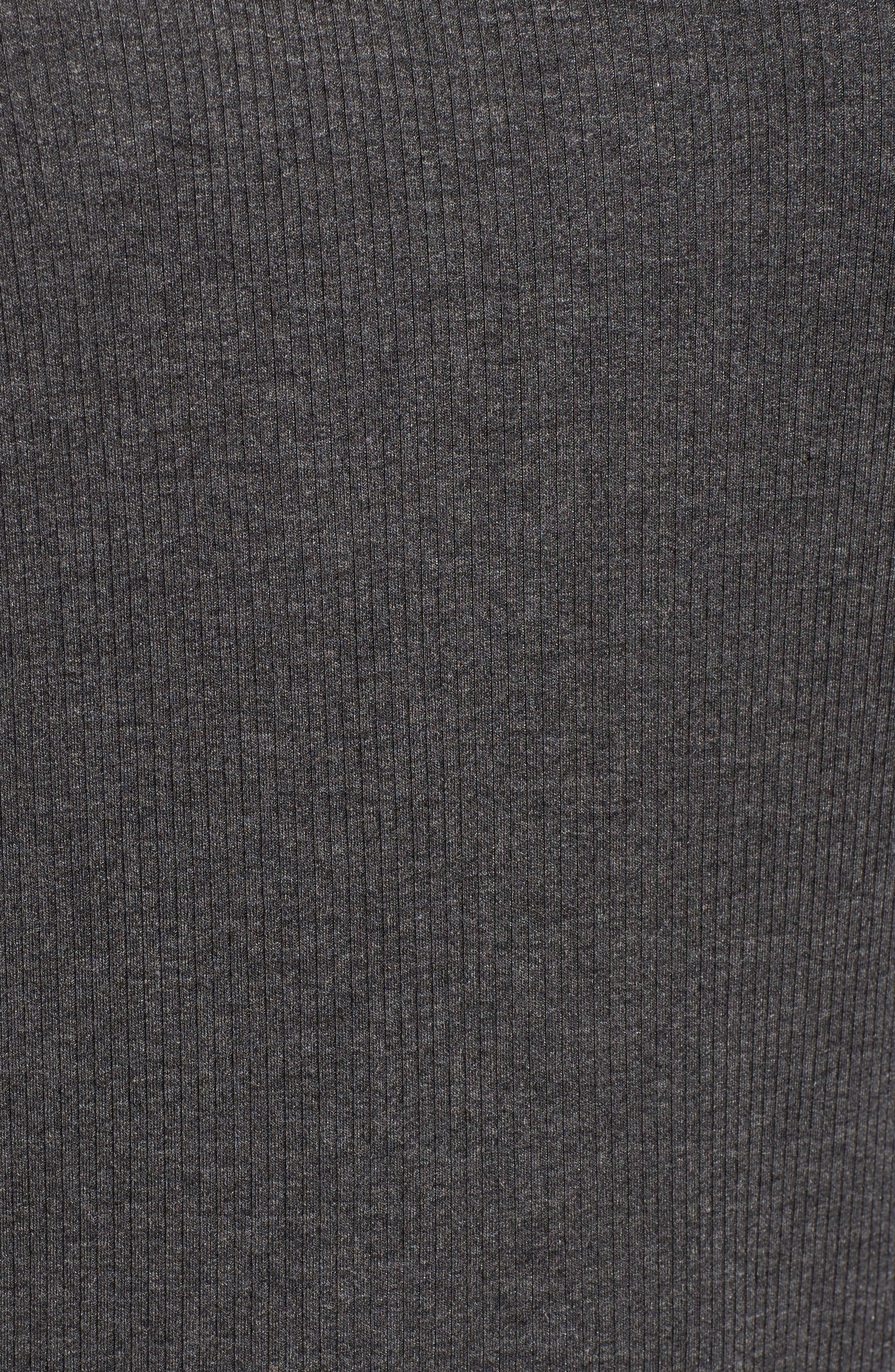 Tiered Ruffled Shoulder Ribbed Top,                             Alternate thumbnail 5, color,                             Medium Heather Grey