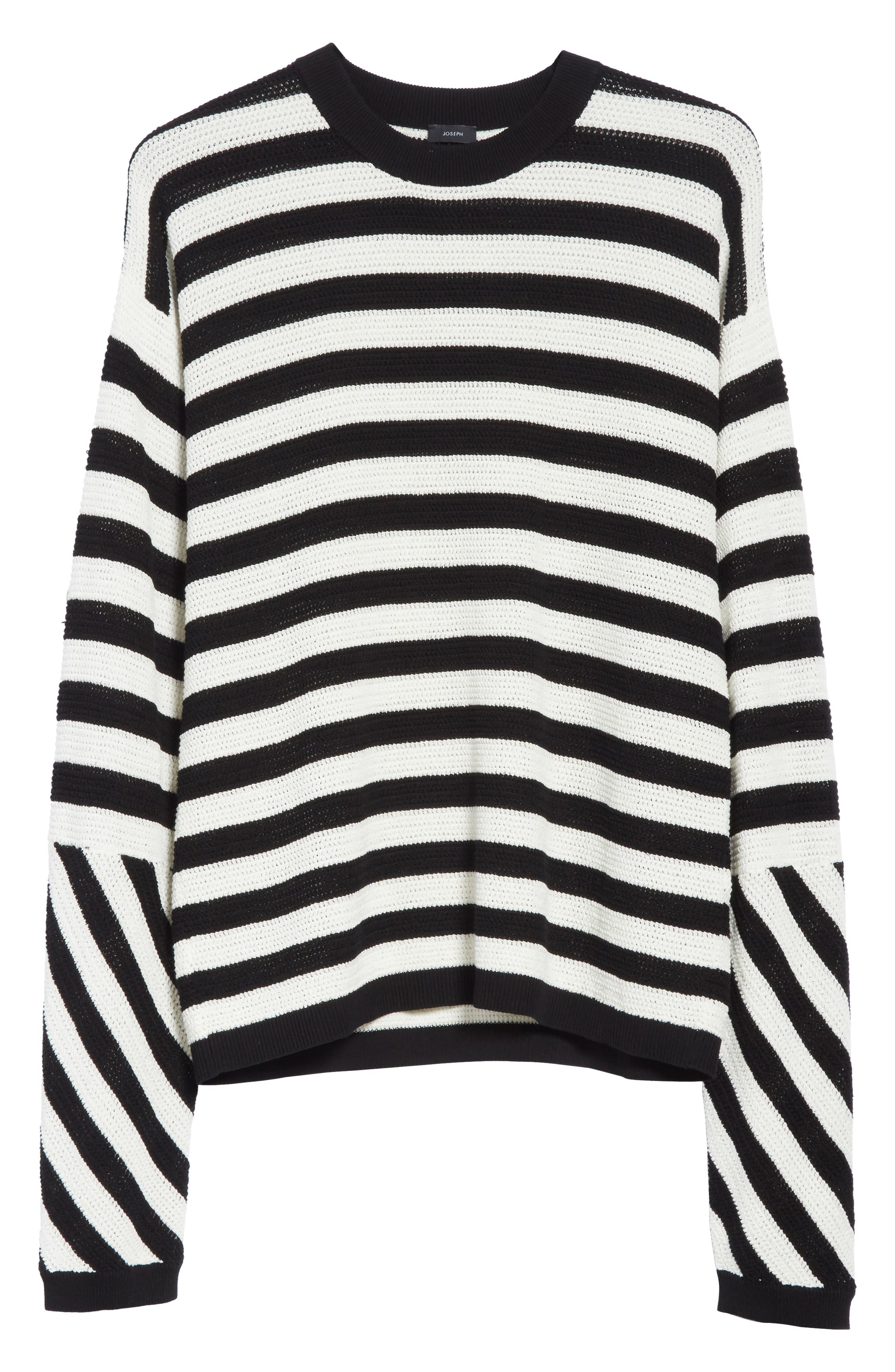 Stripe Cotton Pique Sweater,                             Alternate thumbnail 6, color,                             Black