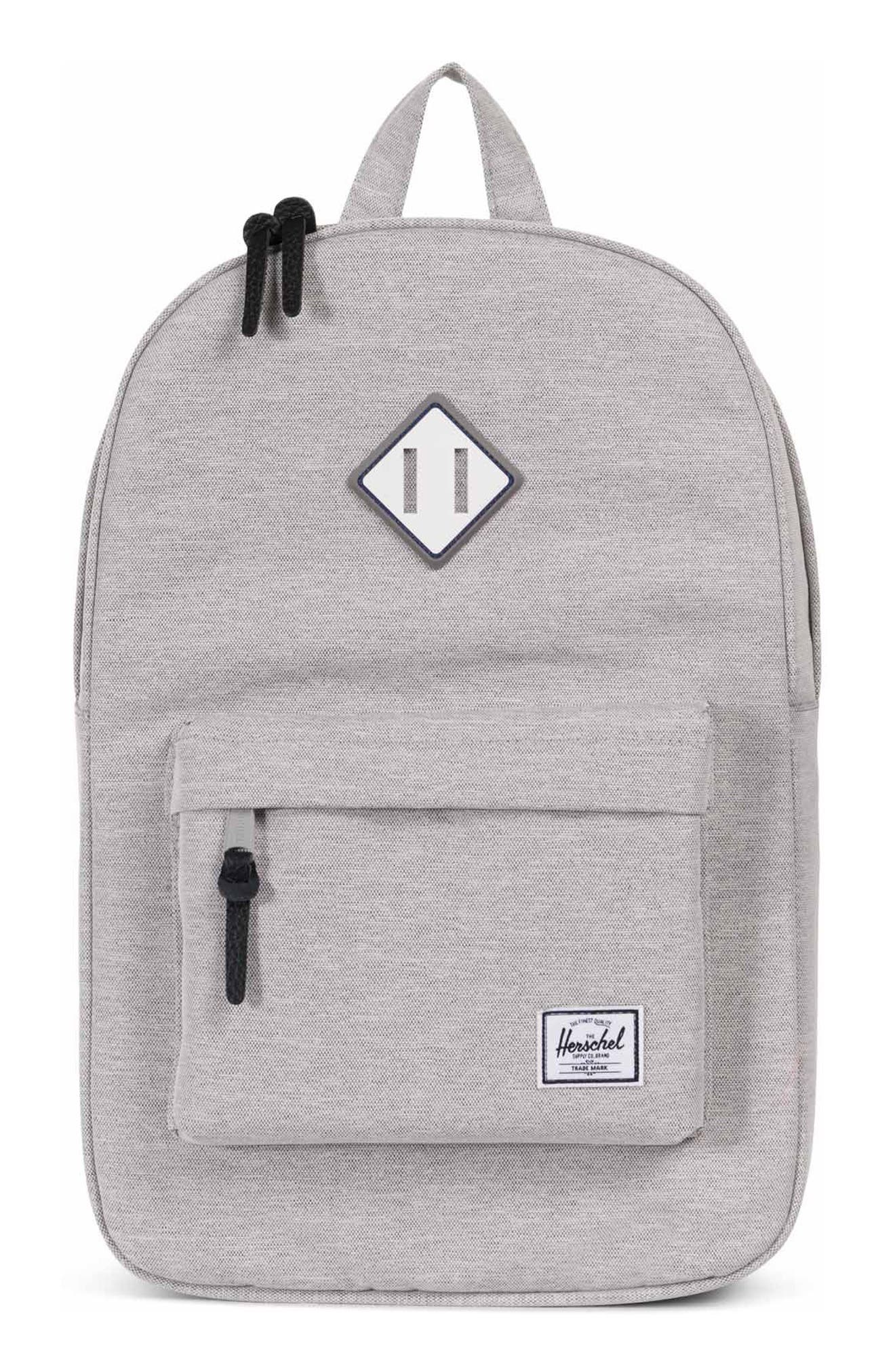 Heritage Backpack,                             Main thumbnail 1, color,                             Grey Crosshatch/ Blue Stripe