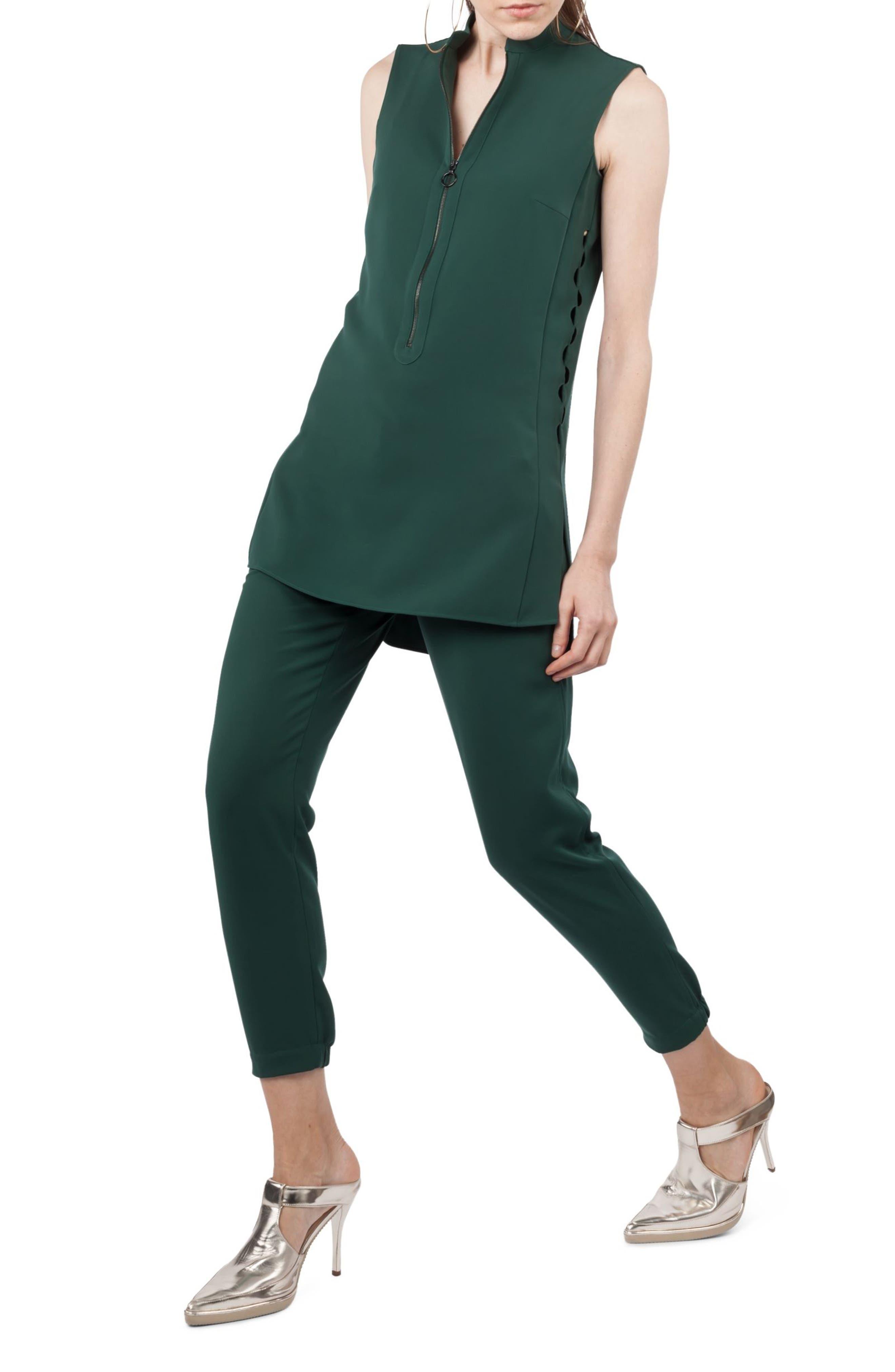 Cutout Tunic Blouse,                         Main,                         color, Palm Leaf