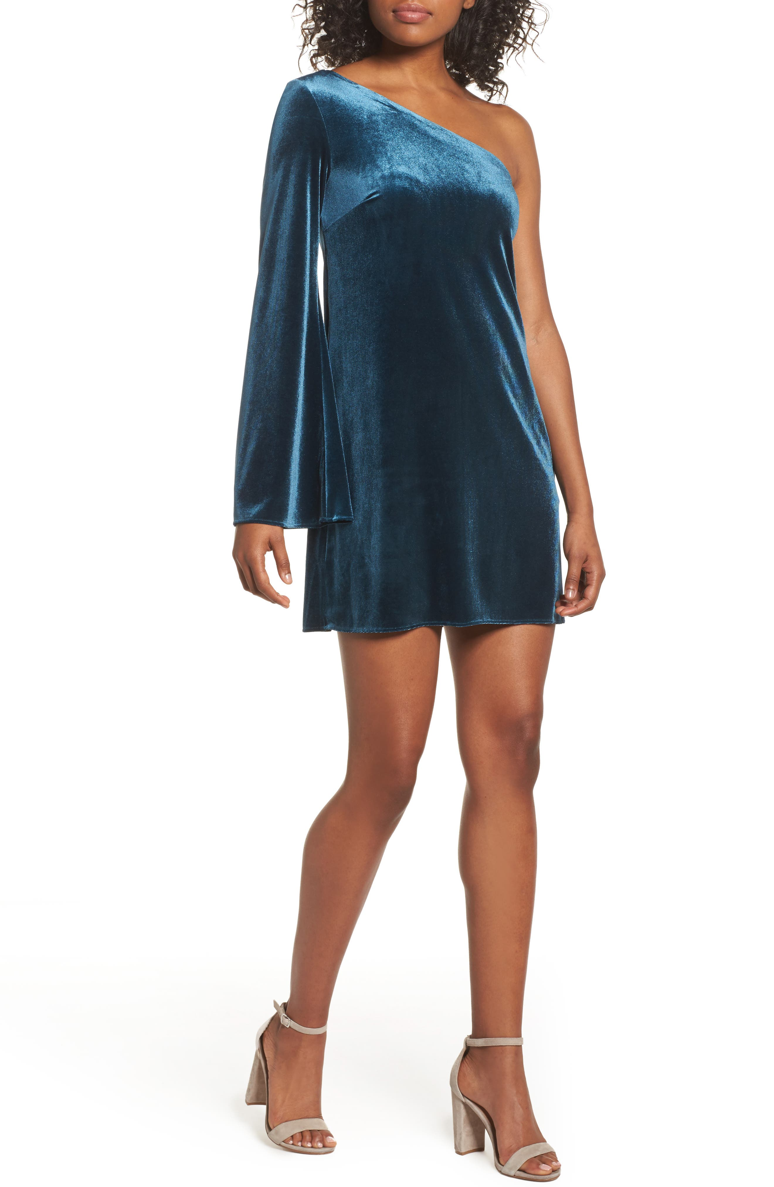 Aurore One-Shoulder Velvet Dress,                         Main,                         color, Deep Teal