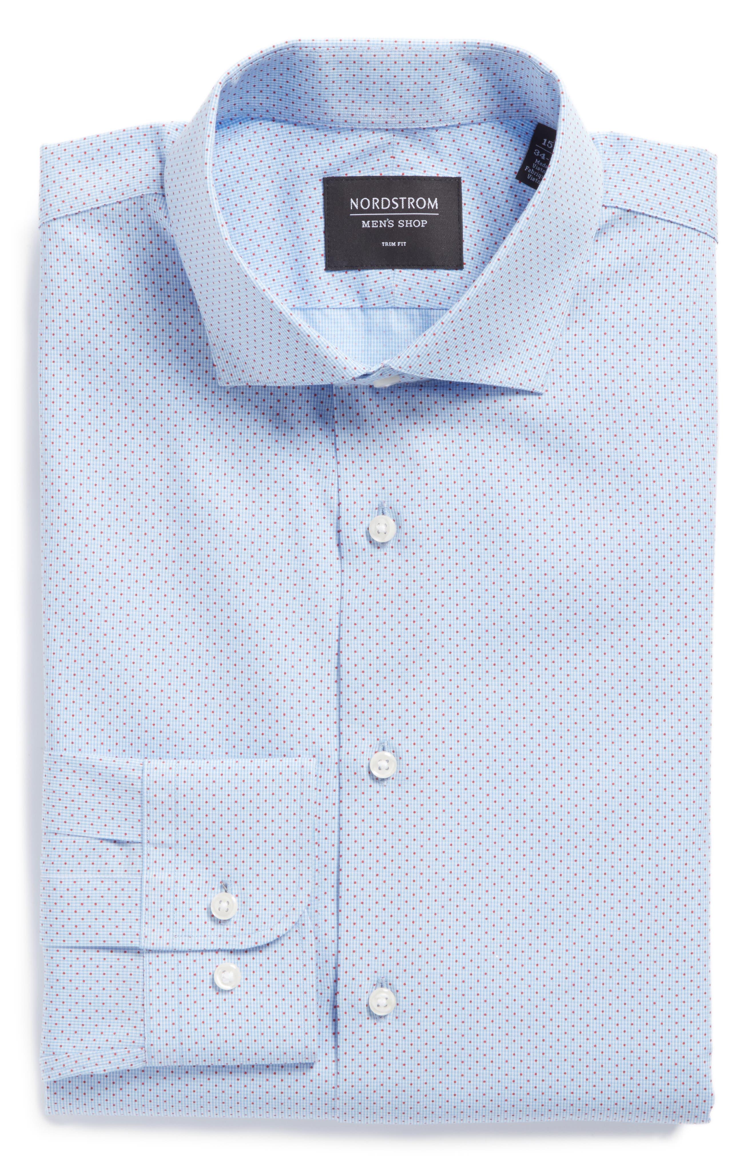 Trim Fit Print Dress Shirt,                             Alternate thumbnail 6, color,                             Blue Provence