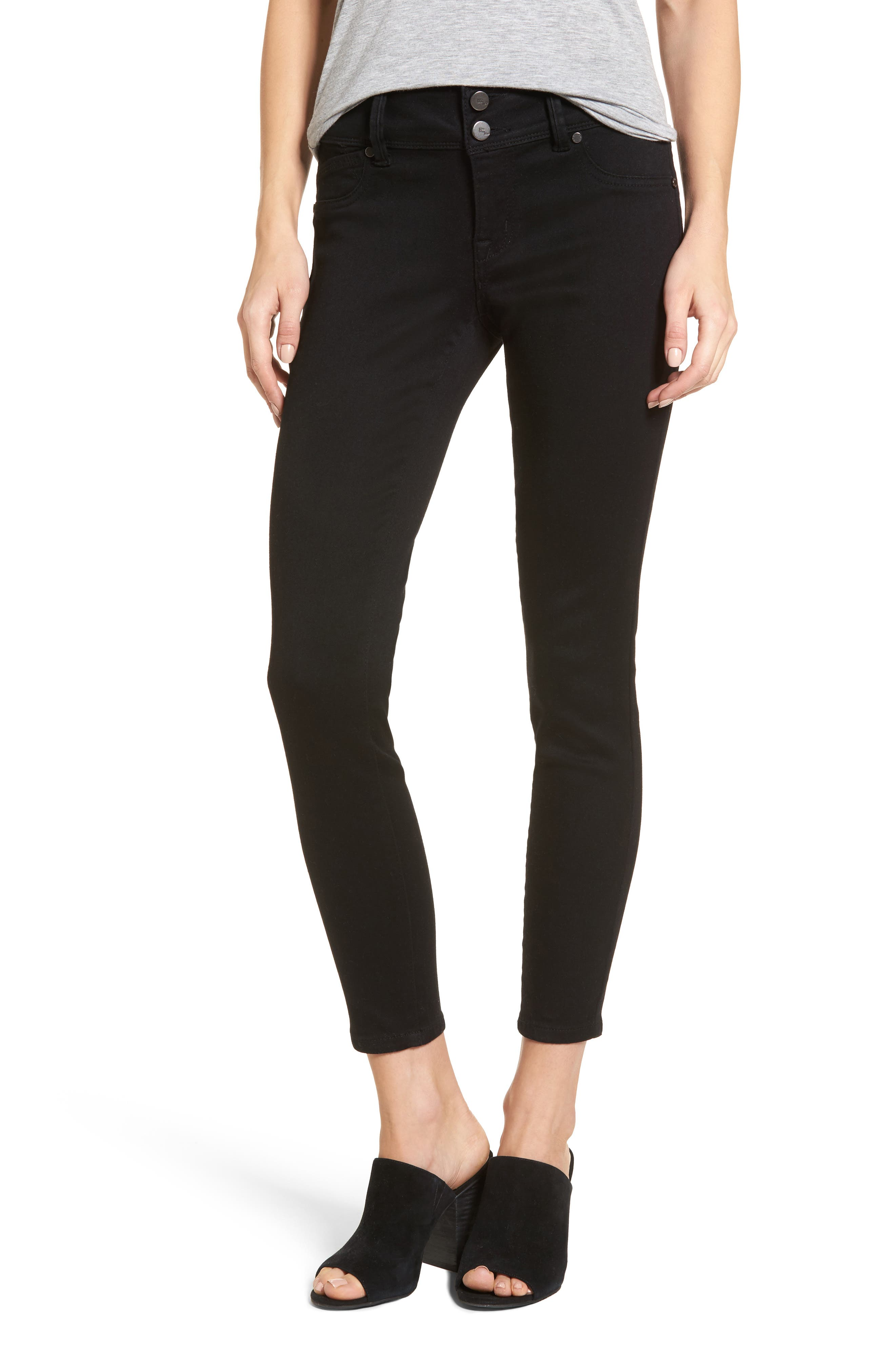 Butter Two-Button Skinny Jeans,                         Main,                         color, Black
