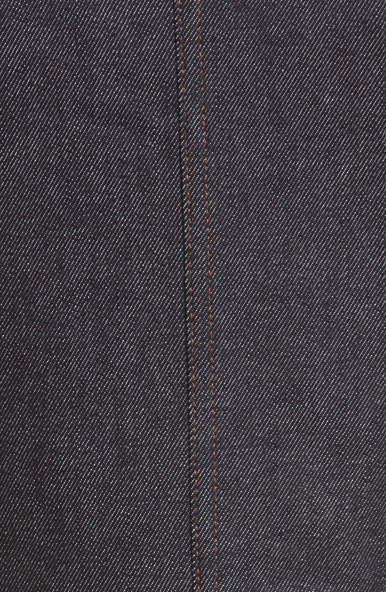 Diane von Furstenberg Front Zip Denim Dress,                             Alternate thumbnail 5, color,                             Indigo/ Black