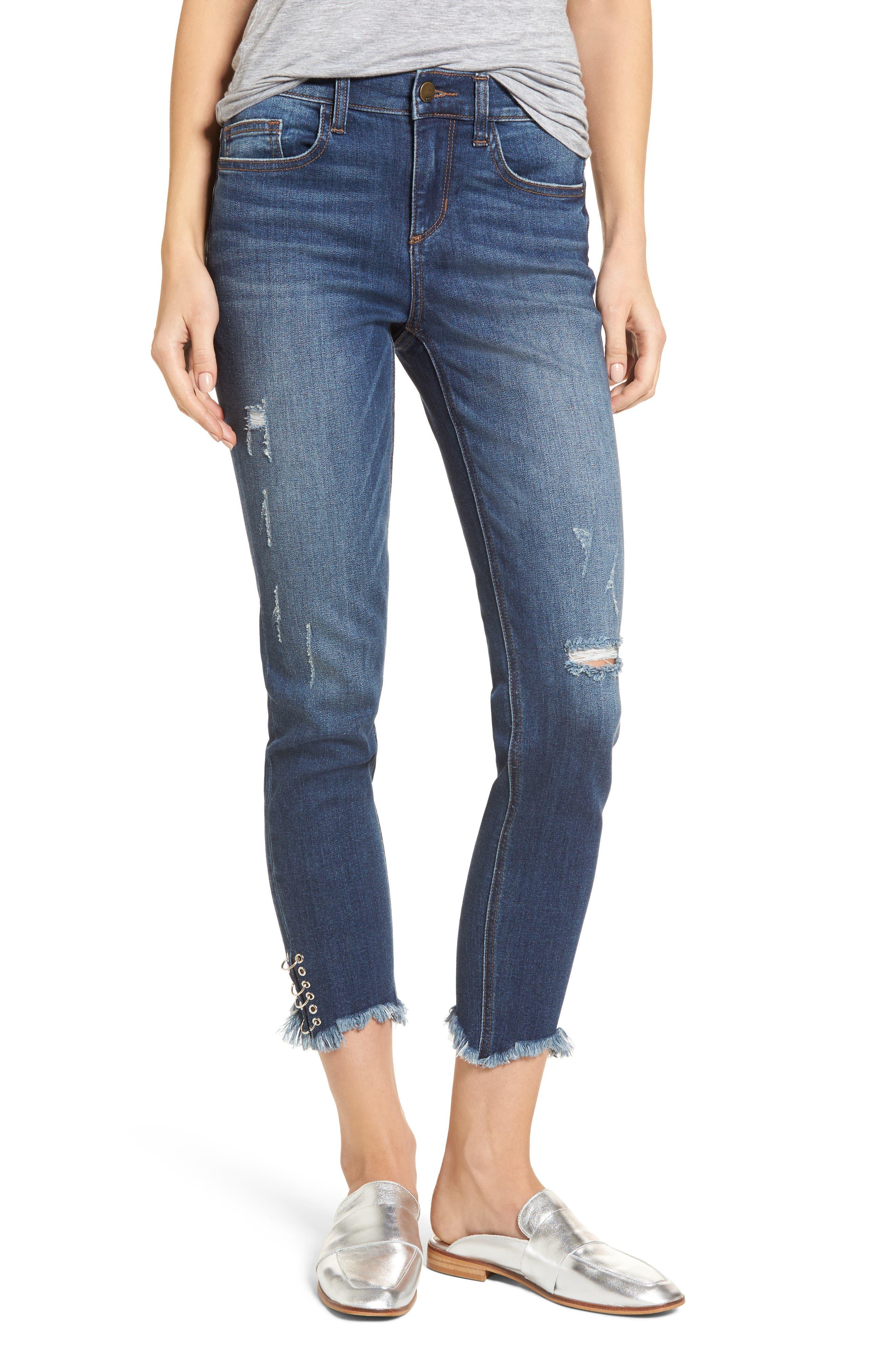 Pierced Hem Skinny Jeans,                             Main thumbnail 1, color,                             Medium Wash
