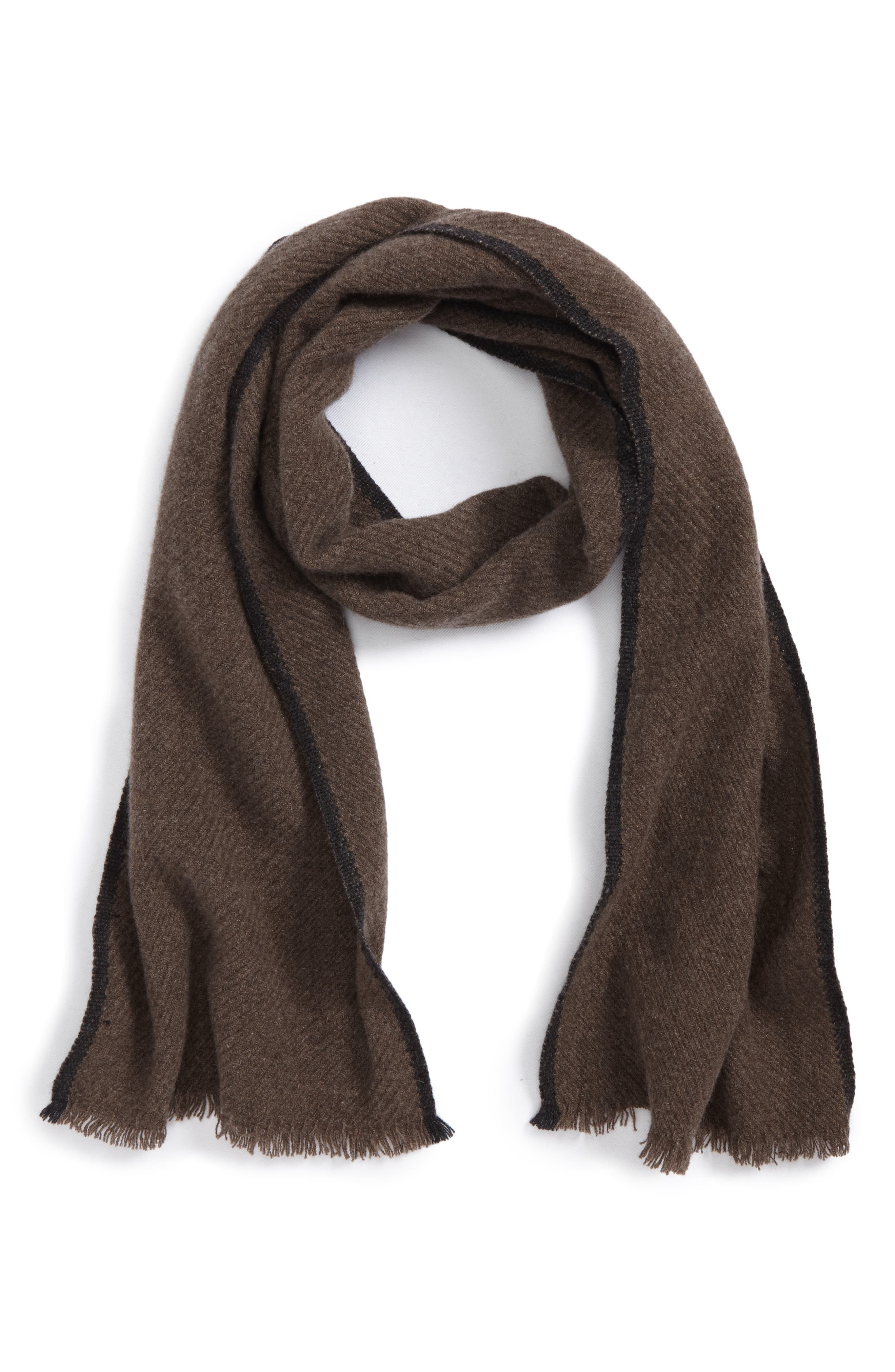 Alternate Image 1 Selected - Andrew Stewart Contrast Selvedge Cashmere Scarf