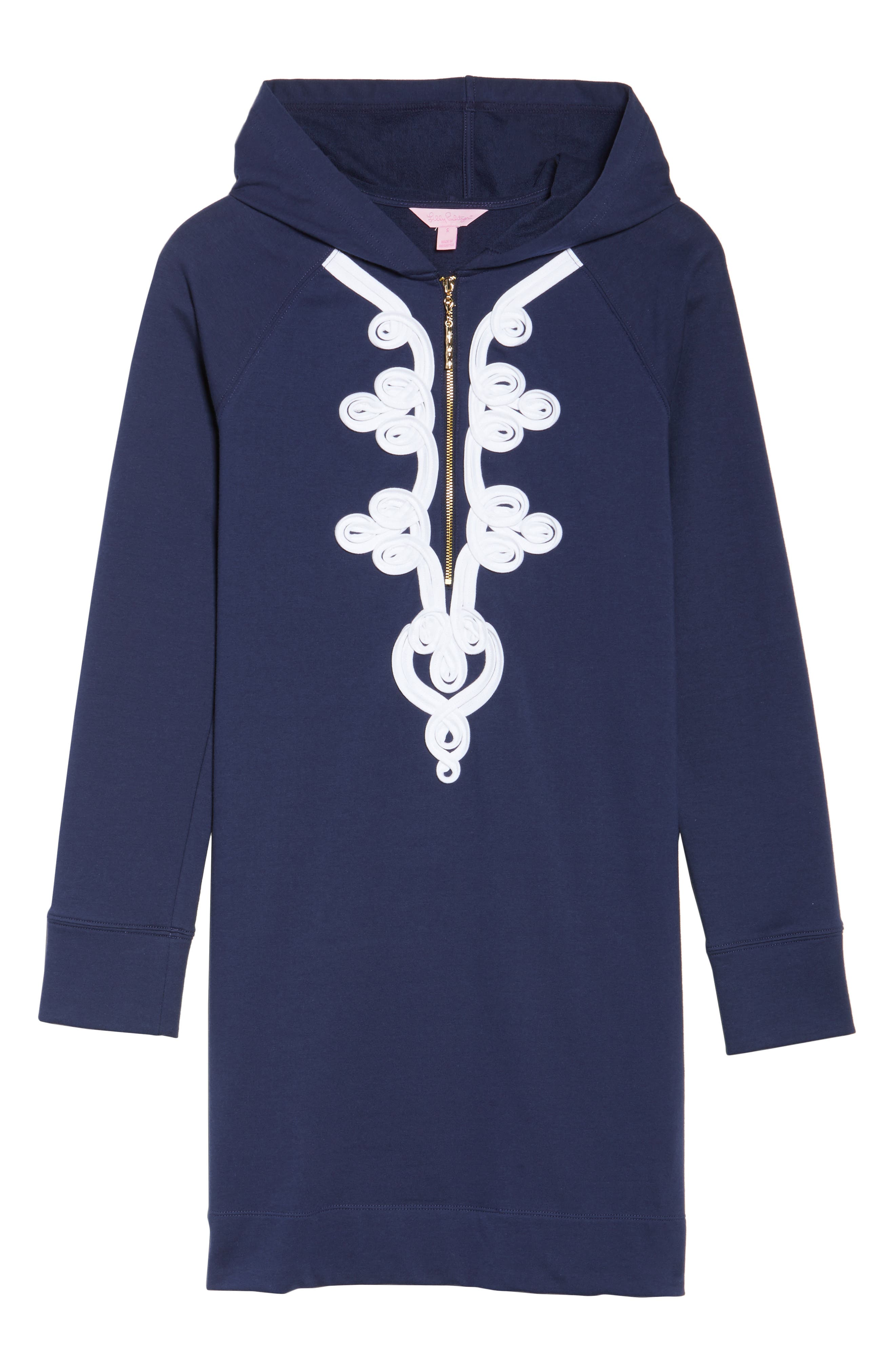 Skipper UPF 50+ Hooded Shift Dress,                             Alternate thumbnail 6, color,                             True Navy