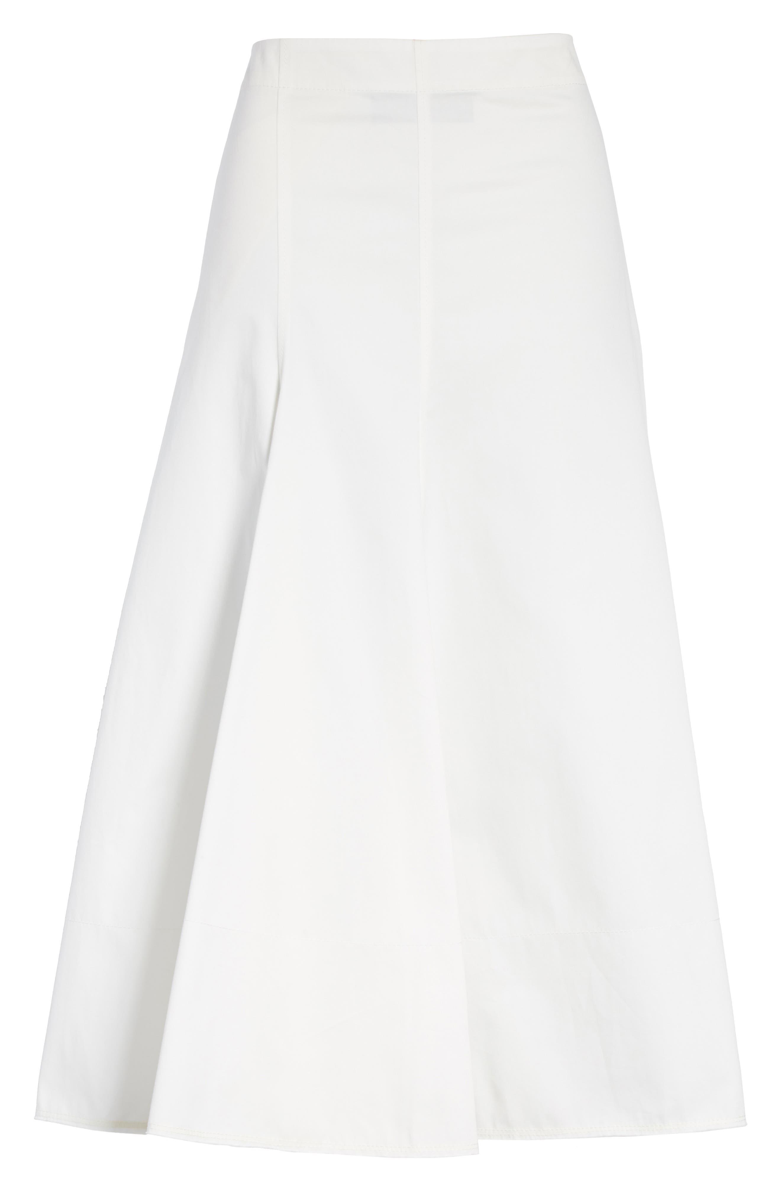 Twill Chino Midi Skirt,                             Alternate thumbnail 6, color,                             Ecru