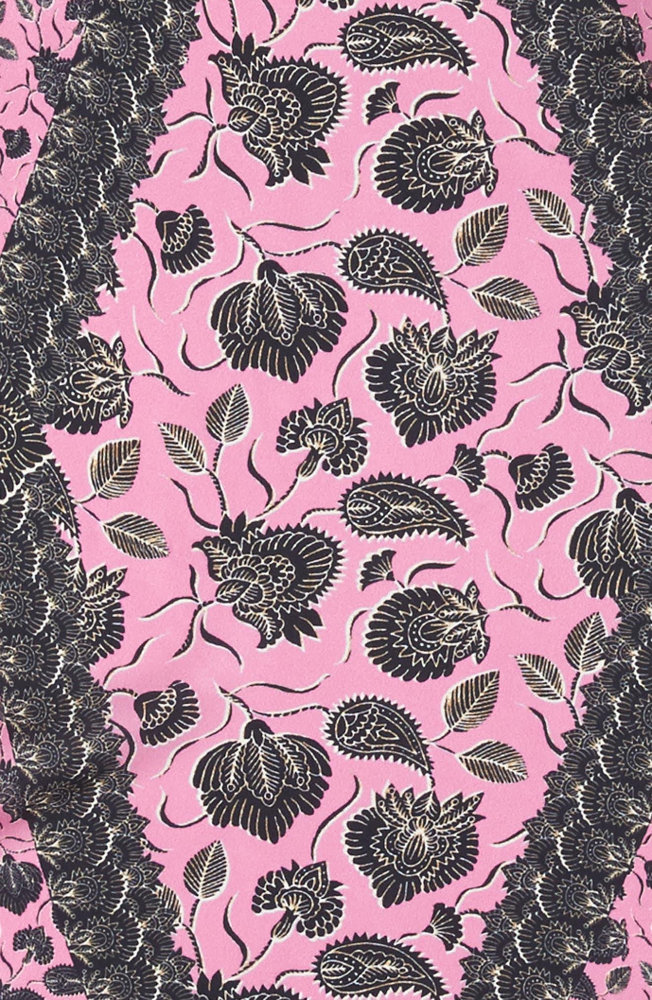 Lotus Paisley Diamond Silk Scarf,                             Alternate thumbnail 4, color,                             Fuchsia Pink