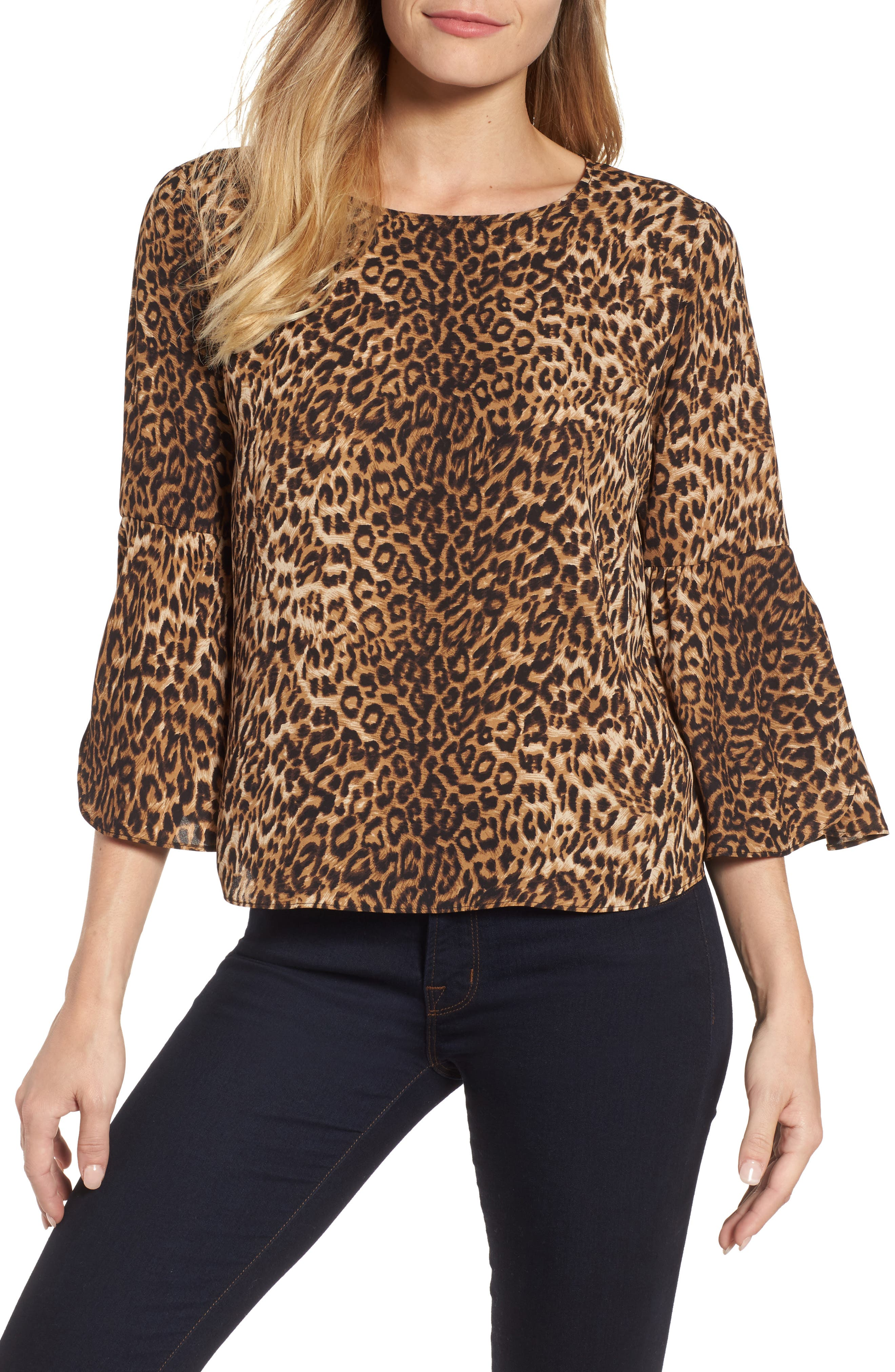 Vince Camuto Hammer Satin Bell Sleeve Blouse