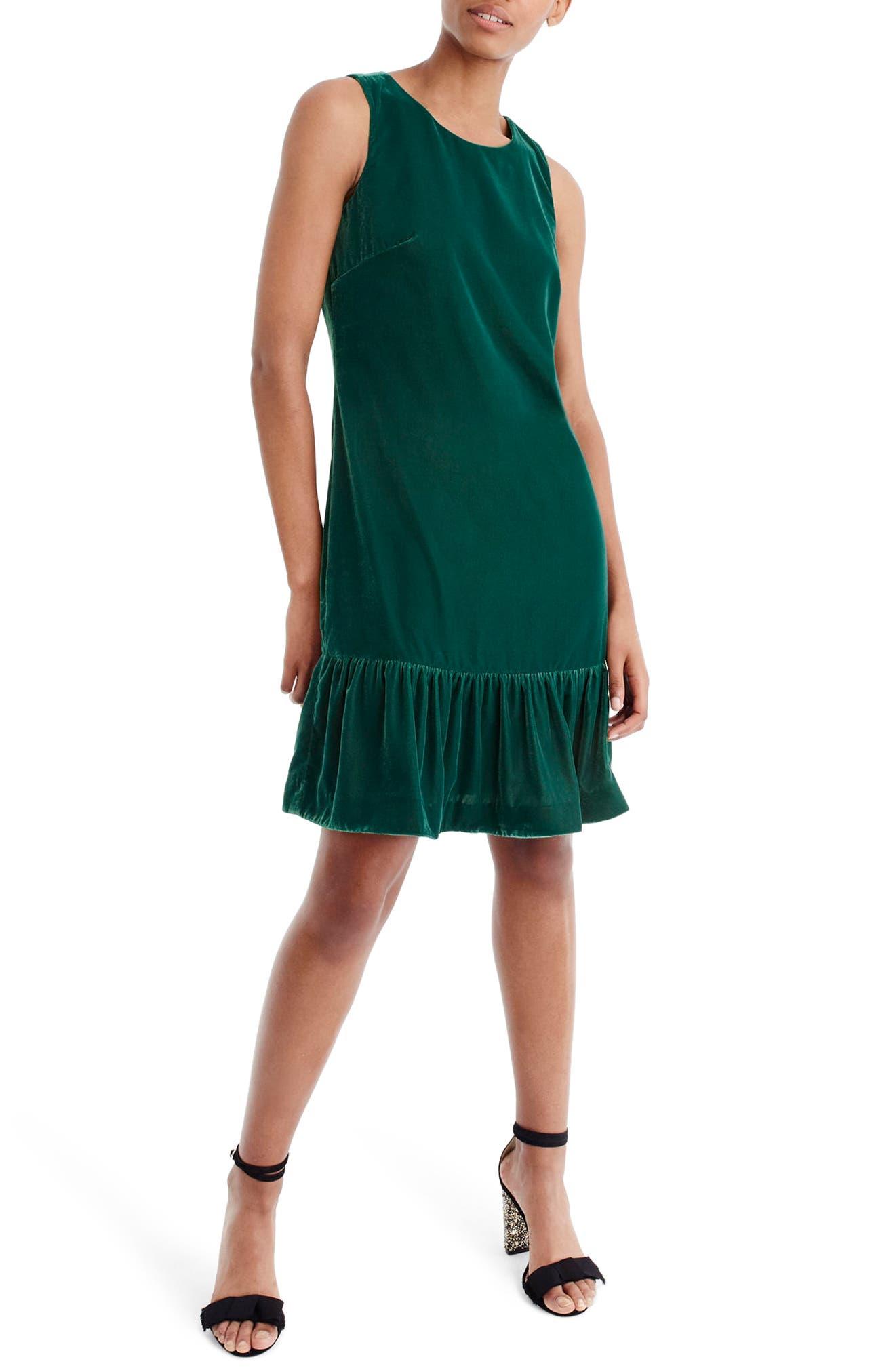 Velvet Ruffle Hem Dress,                         Main,                         color, Academic Green