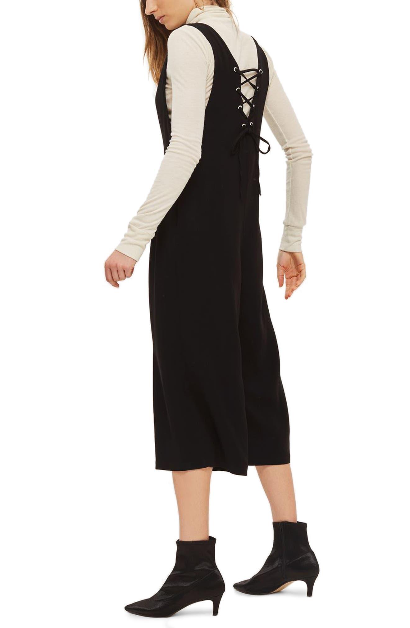 Lace Back Jumpsuit,                             Alternate thumbnail 2, color,                             Black