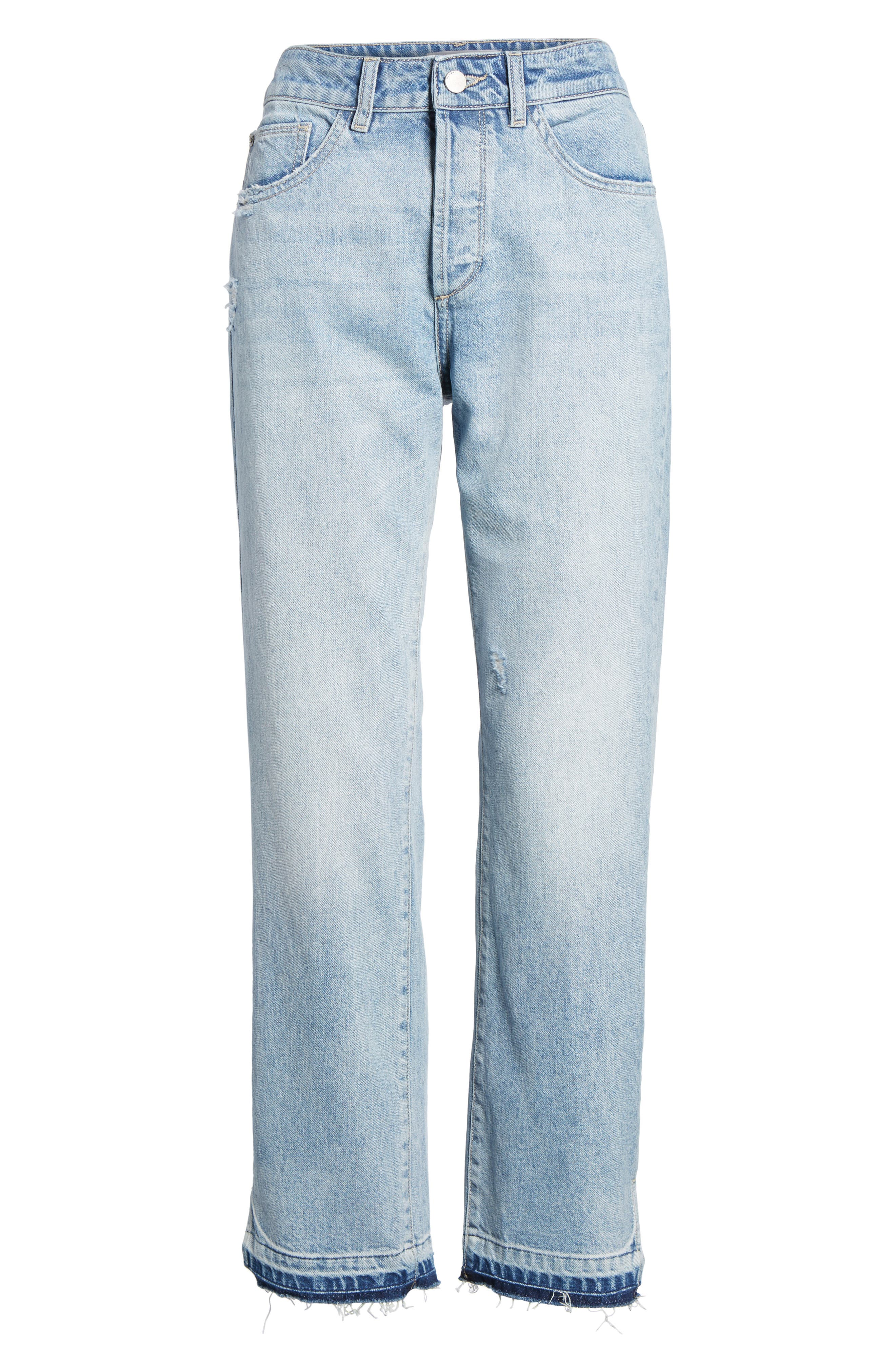 Patti Crop Straight Leg Jeans,                             Alternate thumbnail 7, color,                             Deluxe
