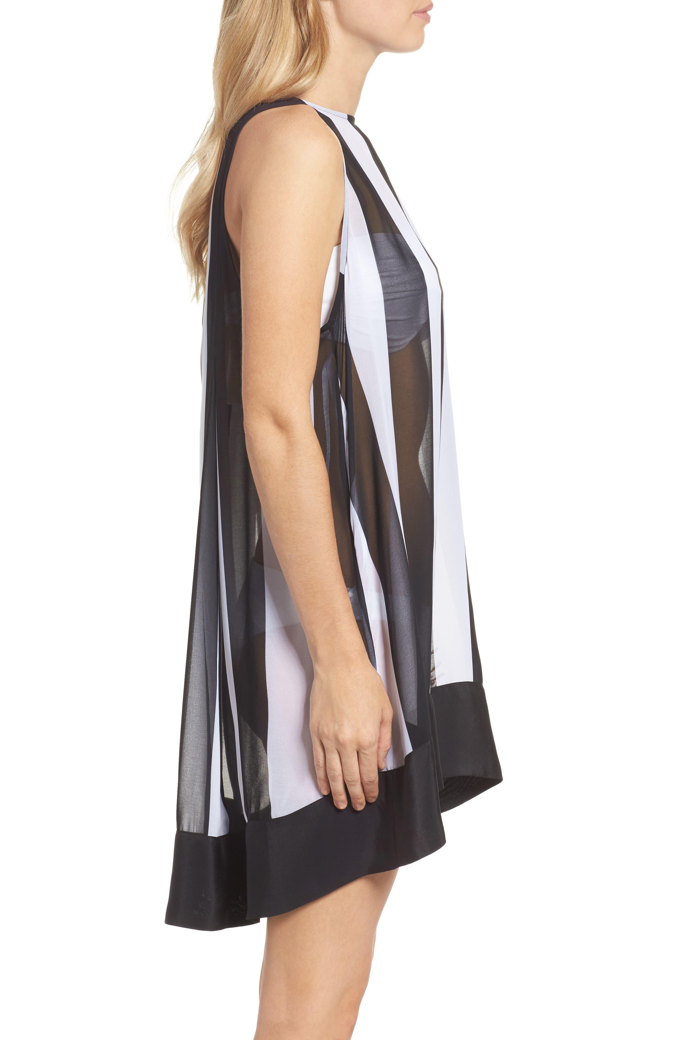 Monochrome Stripe Cover-Up Dress,                             Alternate thumbnail 3, color,                             Black