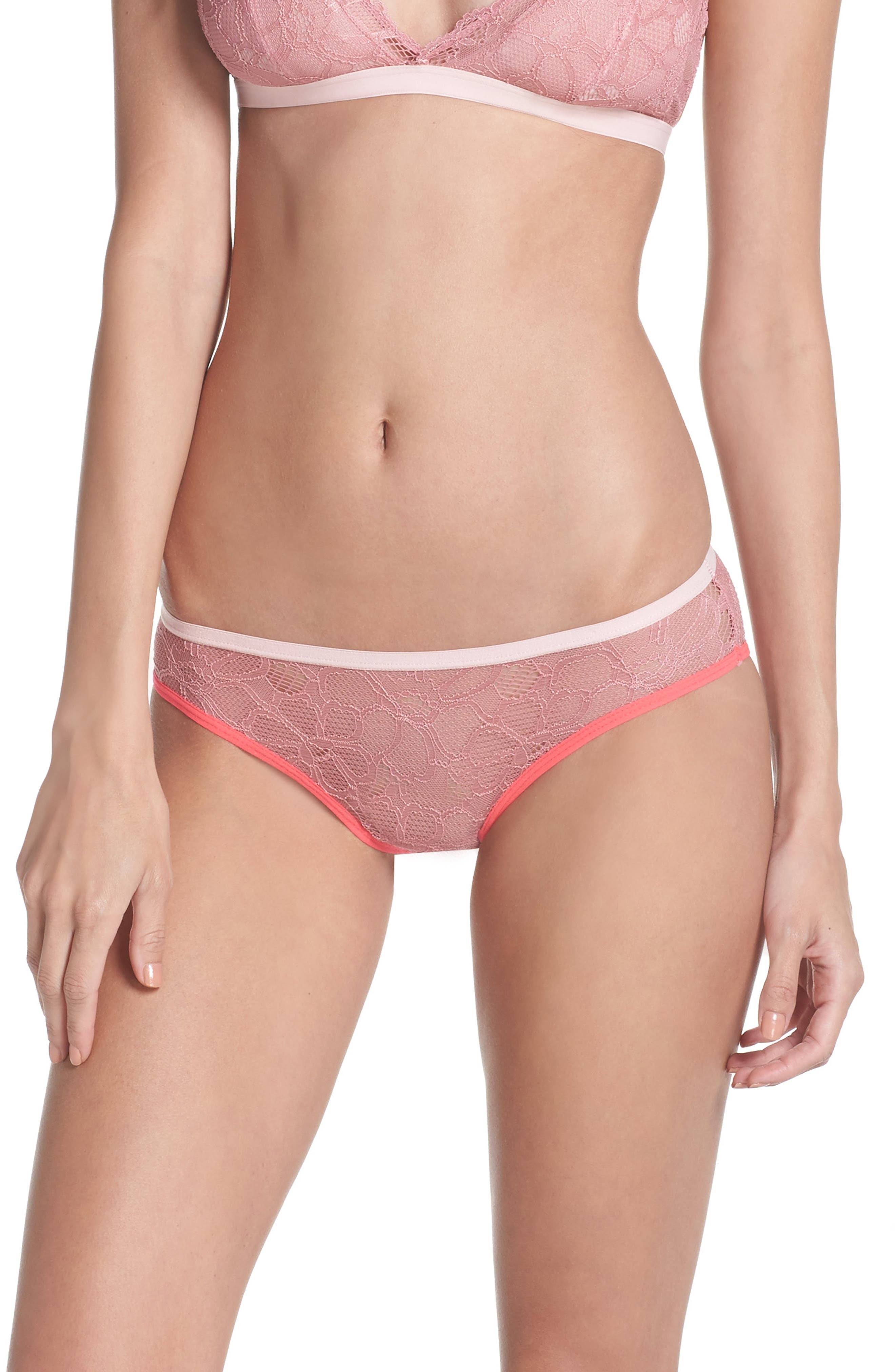 Lace Hipster Panties,                         Main,                         color, Rosewood