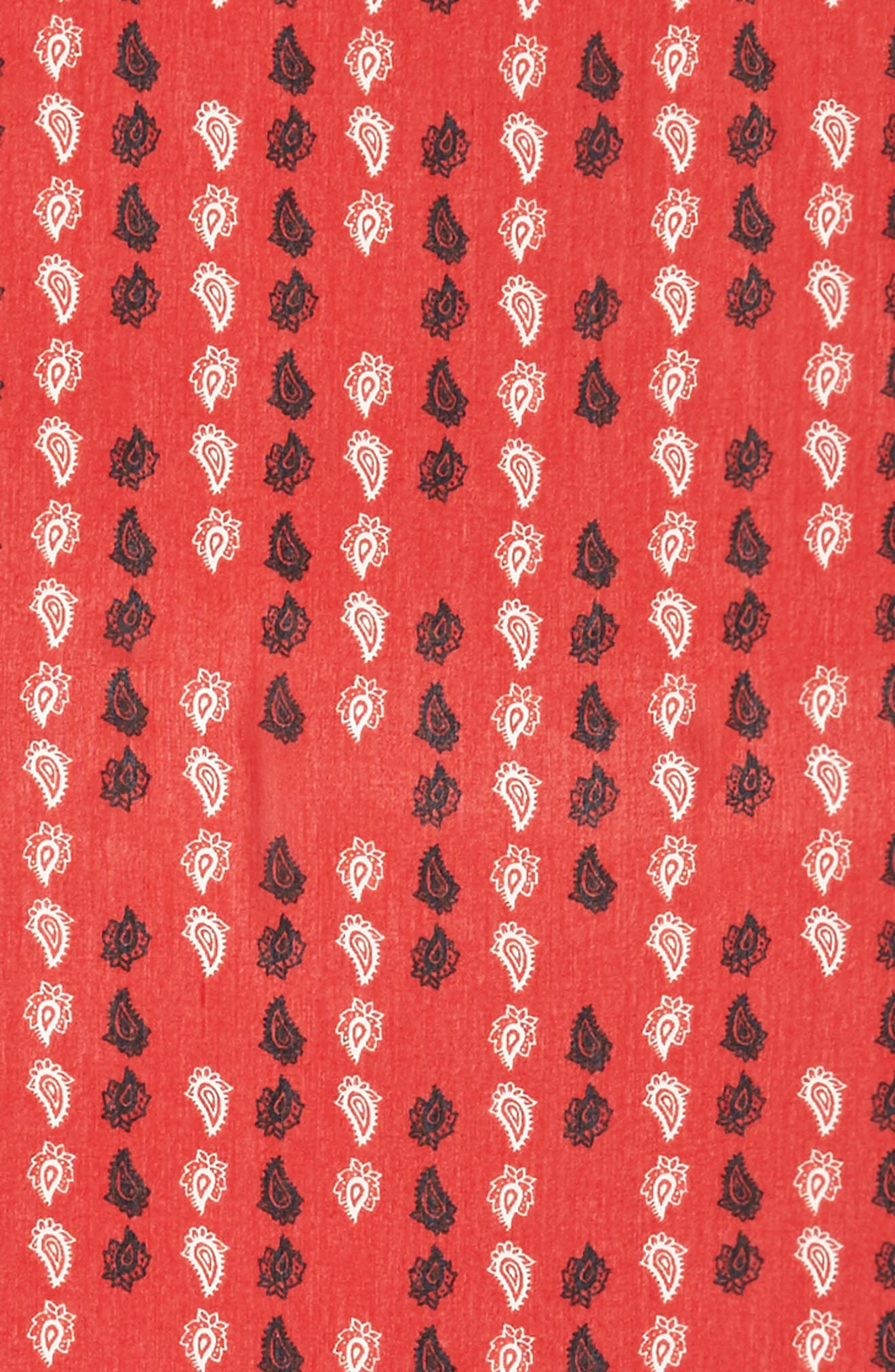 Vertical Paisley Oblong Scarf,                             Alternate thumbnail 4, color,                             Poppy Red