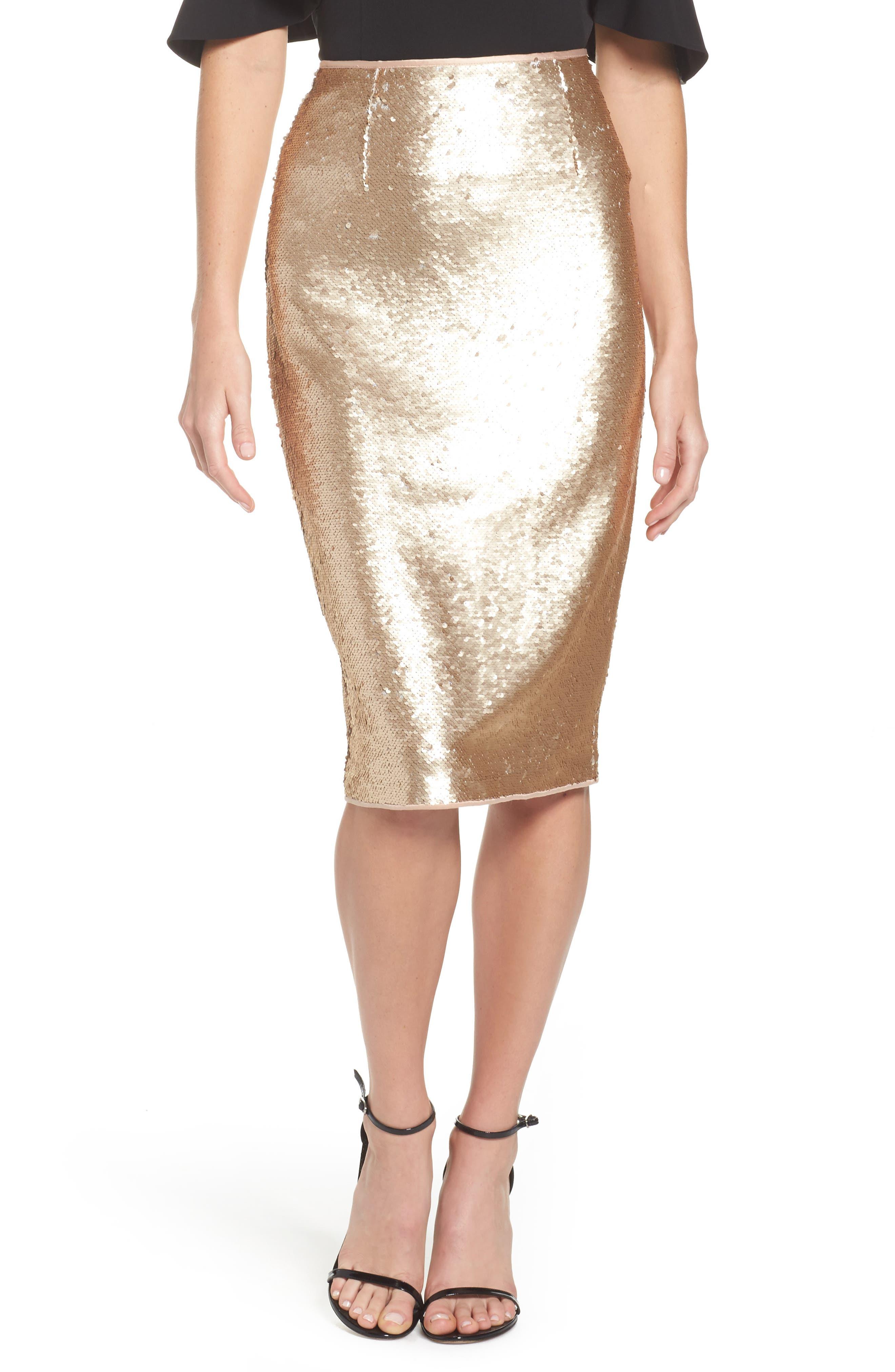 Paillette Pencil Skirt,                             Main thumbnail 1, color,                             Gold