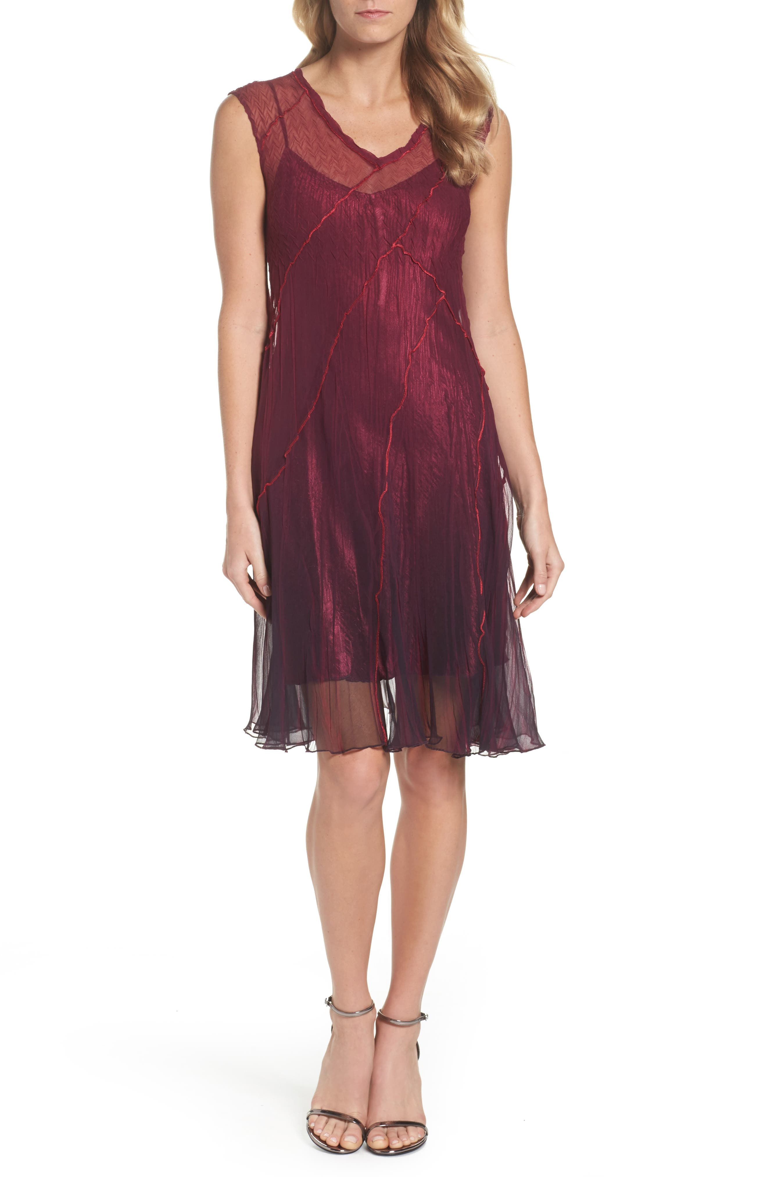 Chiffon A-Line Dress,                             Main thumbnail 1, color,                             Red Plum Blue Ombre