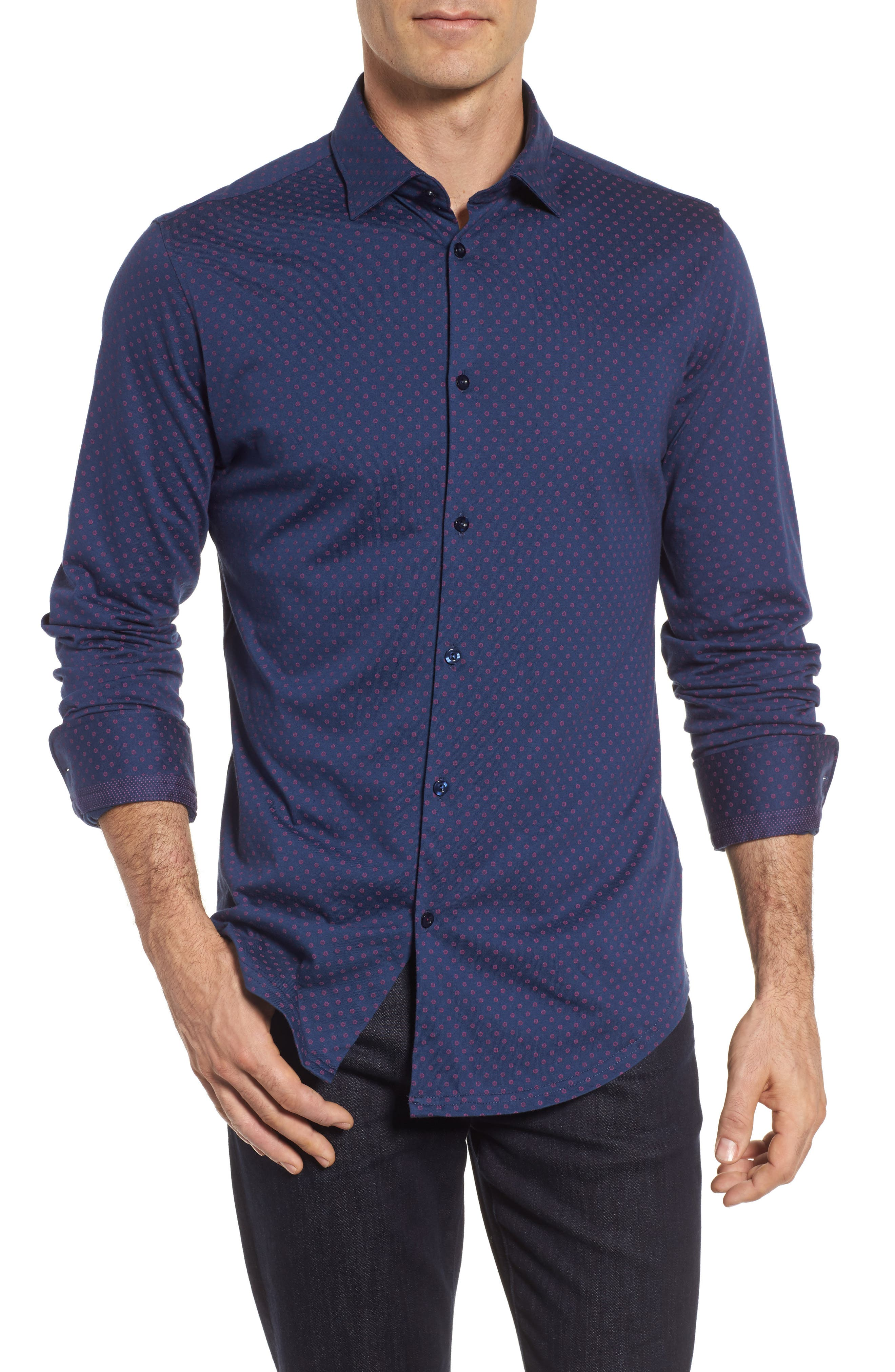 Ship Wheel Knit Sport Shirt,                         Main,                         color, Navy