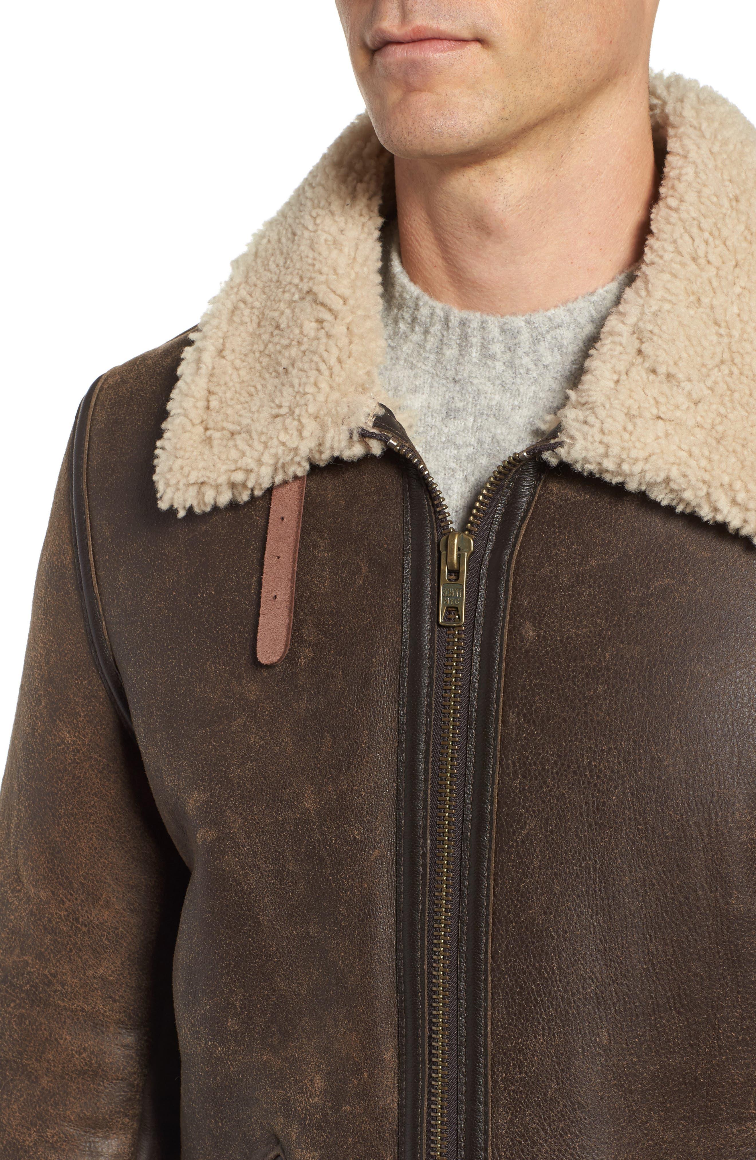 Genuine Shearling Vintage B-6 Bomber Jacket,                             Alternate thumbnail 4, color,                             Brown