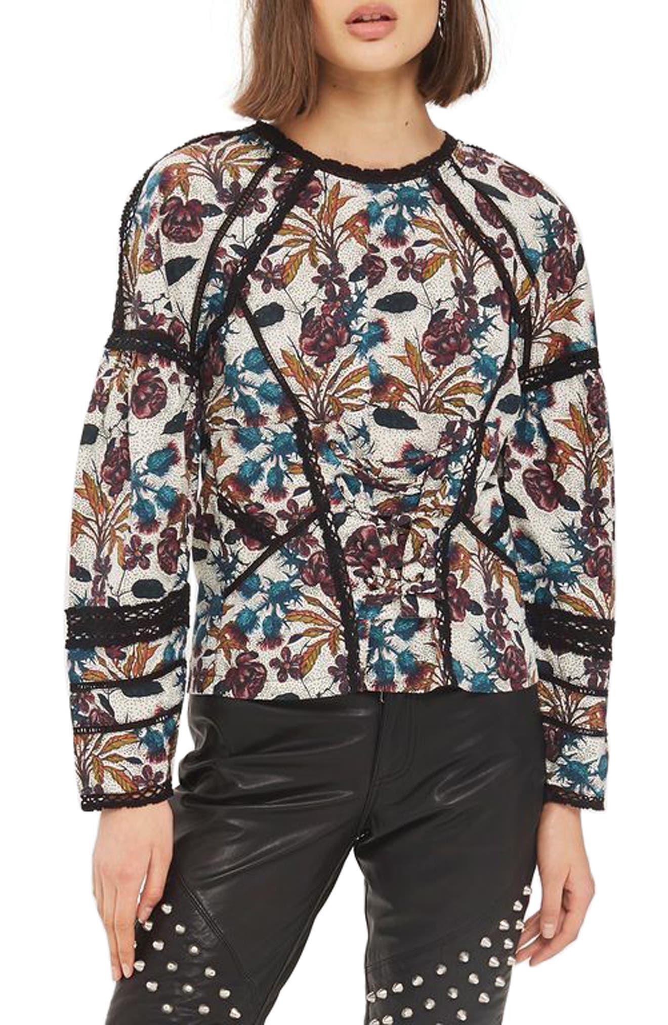 Topshop Lace Trim Corset Print Top
