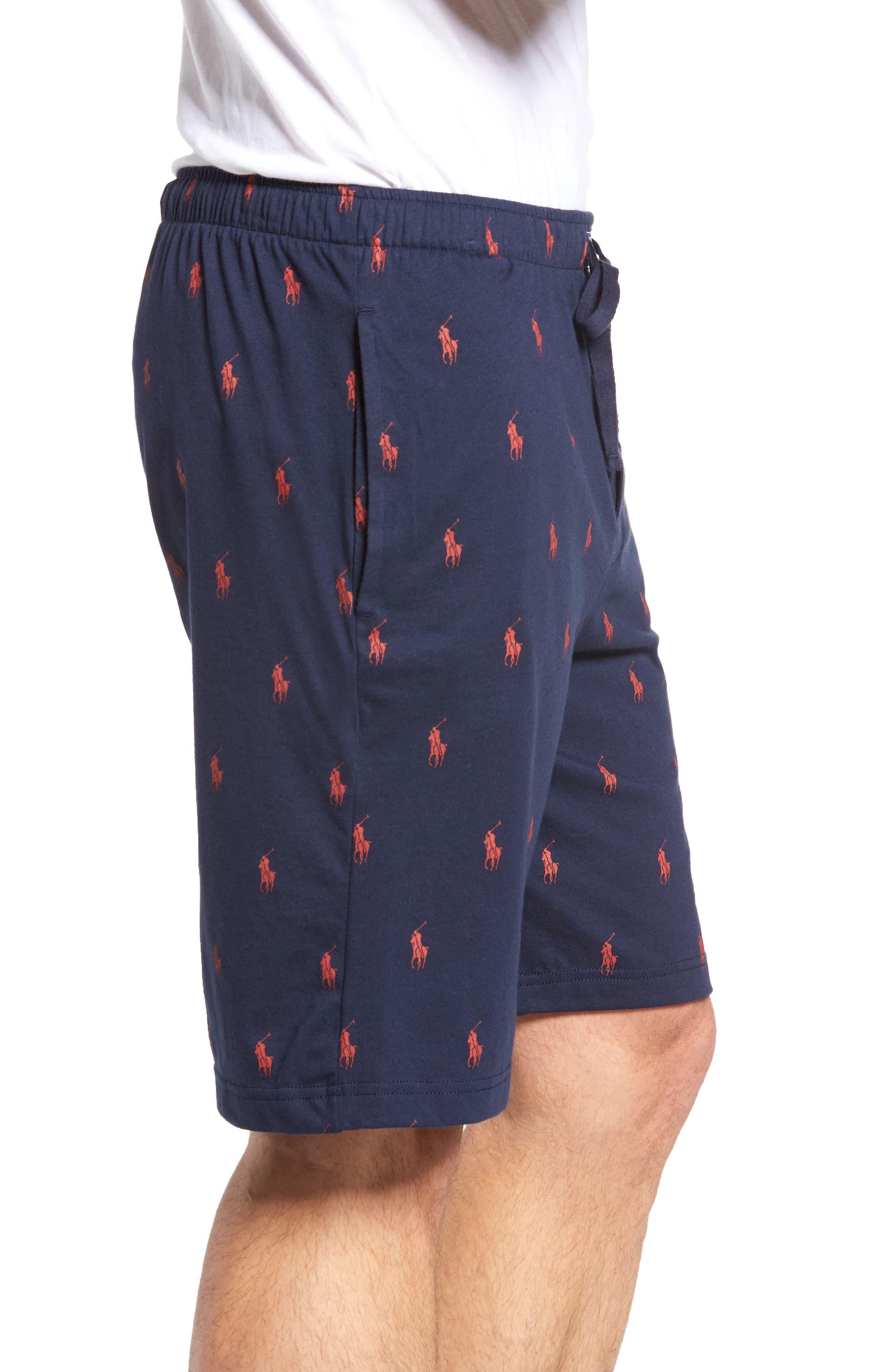 Print Jersey Pajama Shorts,                             Alternate thumbnail 3, color,                             Cruise Navy/ Red Sienna