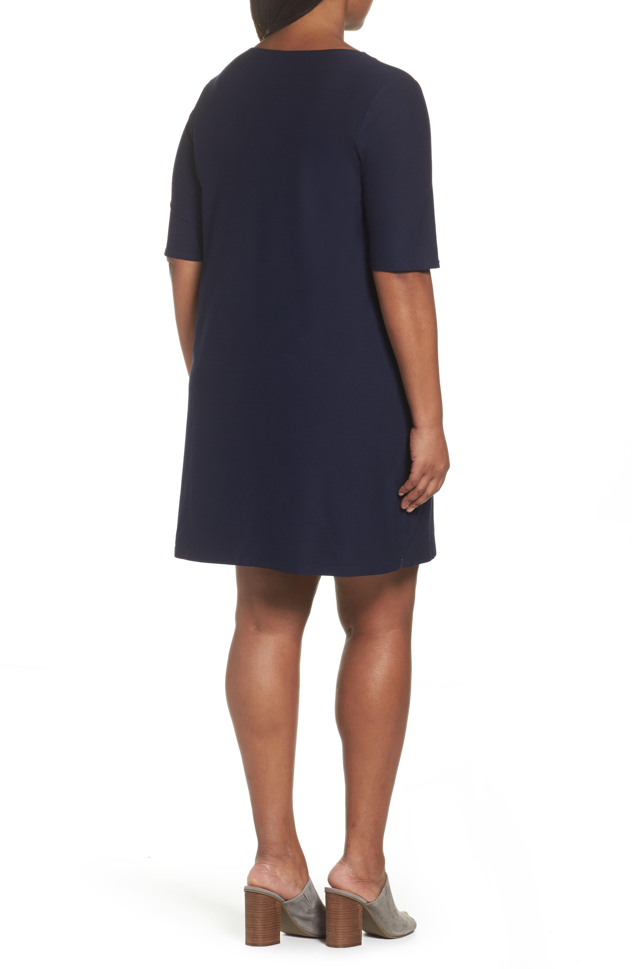 Alternate Image 2  - Eileen Fisher Side Zip Knit Shift Dress (Plus Size)