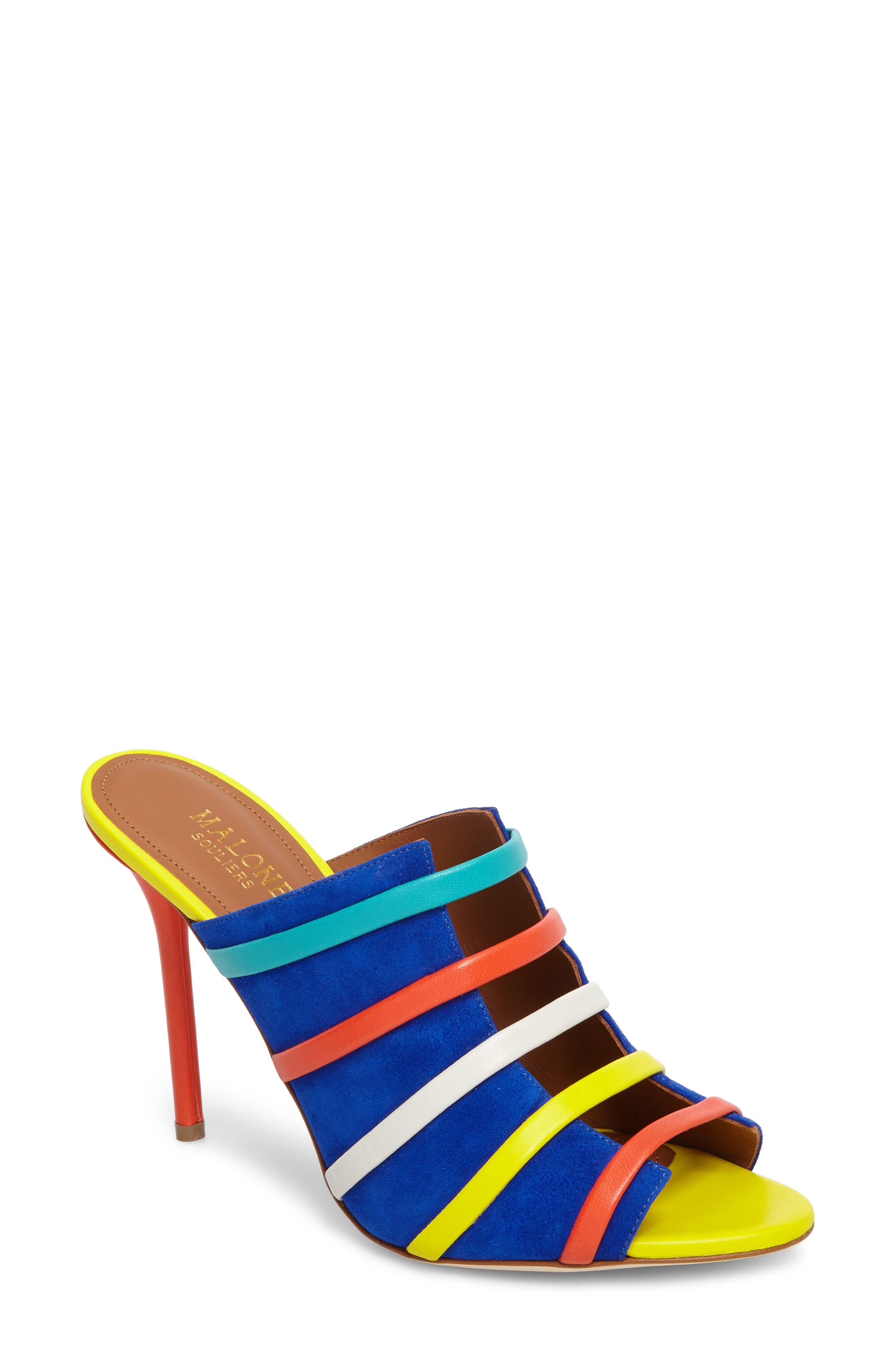 Zoe Banded Mule,                         Main,                         color, Electric Blue/ Flame/ Yellow
