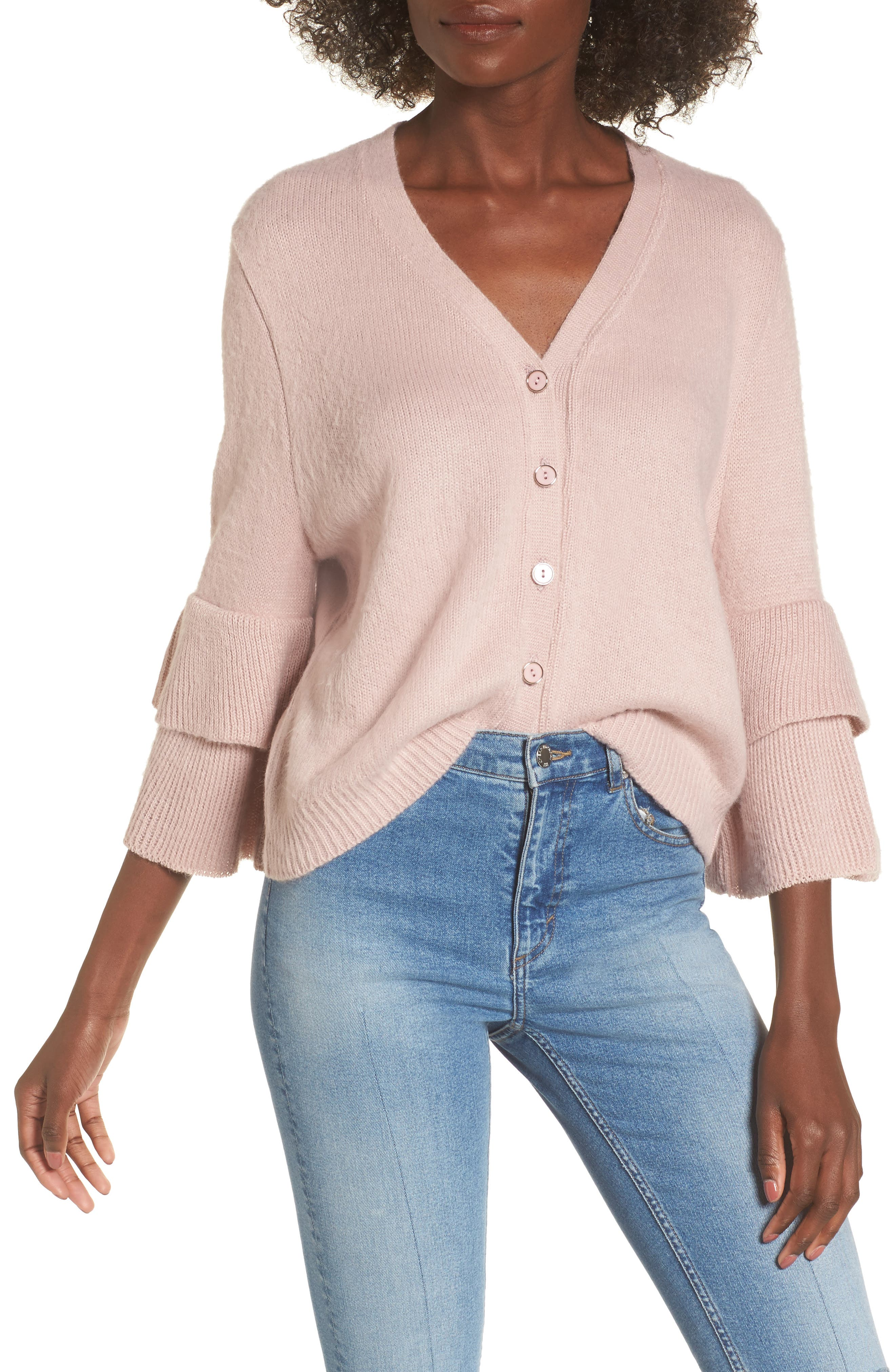 Tiered Sleeve Cardigan,                             Main thumbnail 1, color,                             Pink
