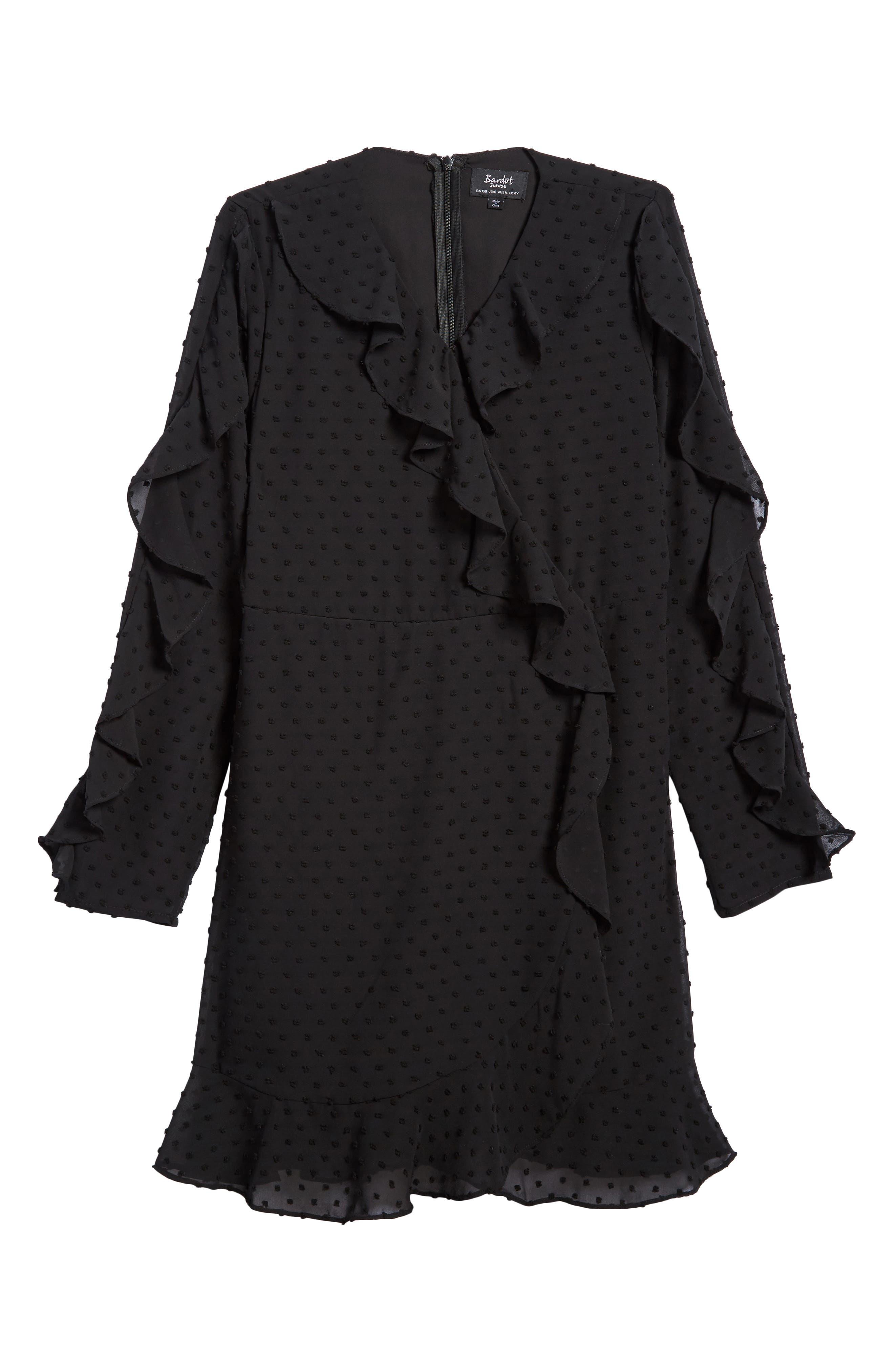 Ruffle Dobby Georgette Dress,                             Main thumbnail 1, color,                             Black