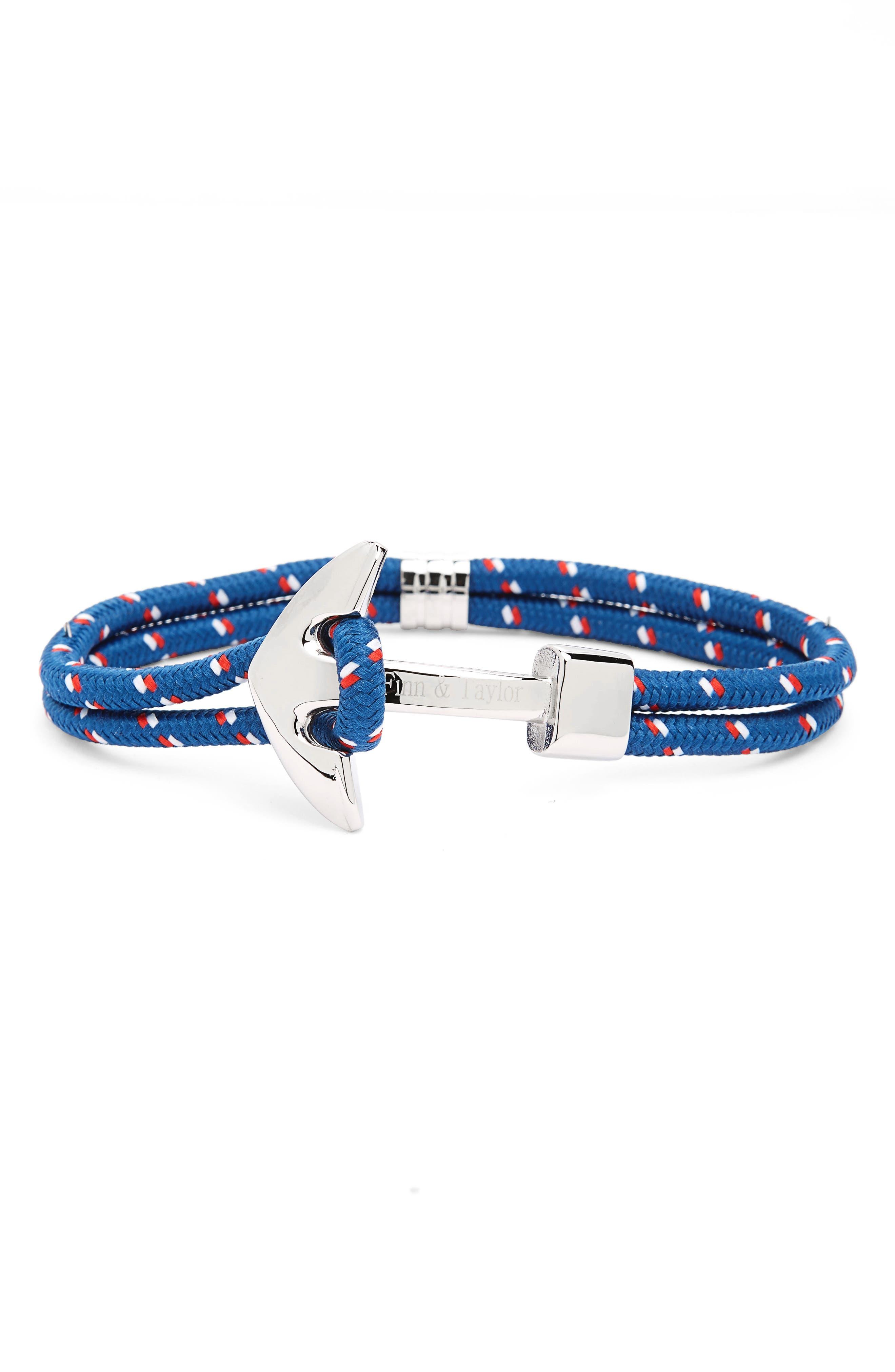 Finn & Taylor Double Ciord Anchor Bracelet,                         Main,                         color, Navy