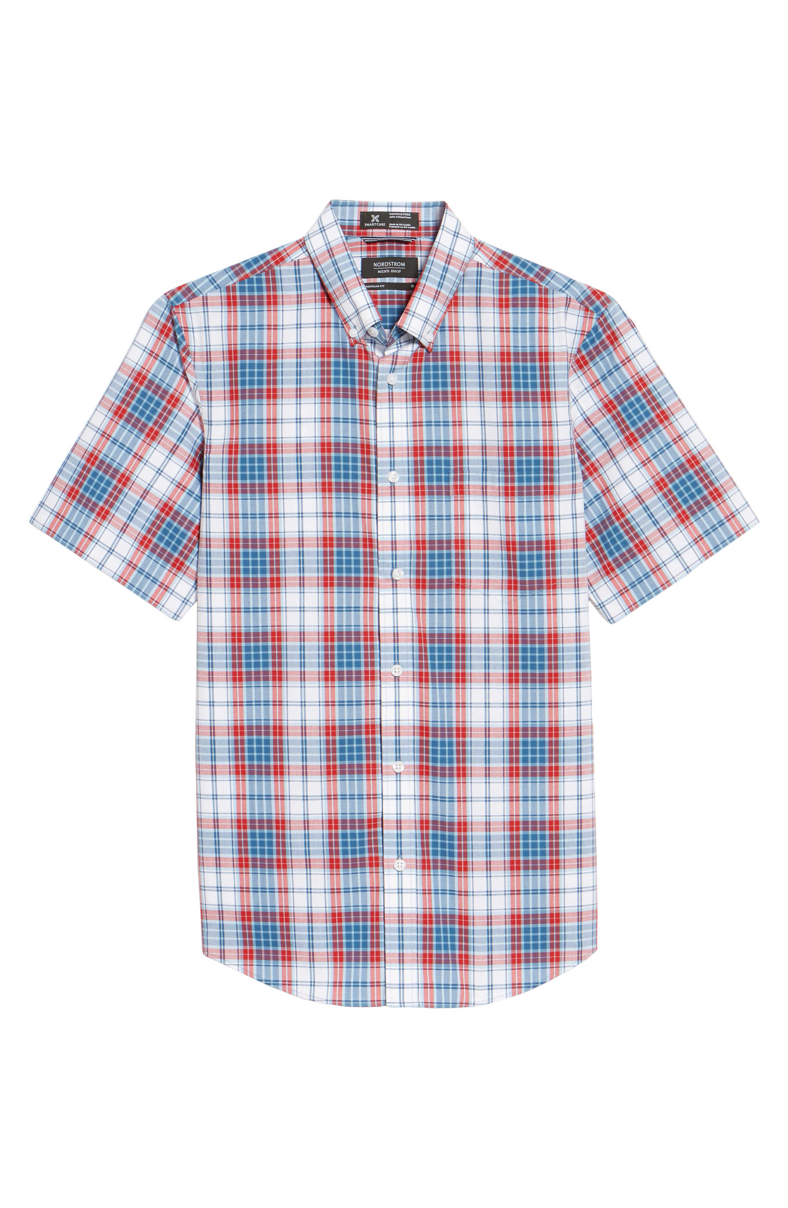 Smartcare<sup>™</sup> Regular Fit Plaid Sport Shirt,                             Alternate thumbnail 6, color,                             White Red Heather Tartan
