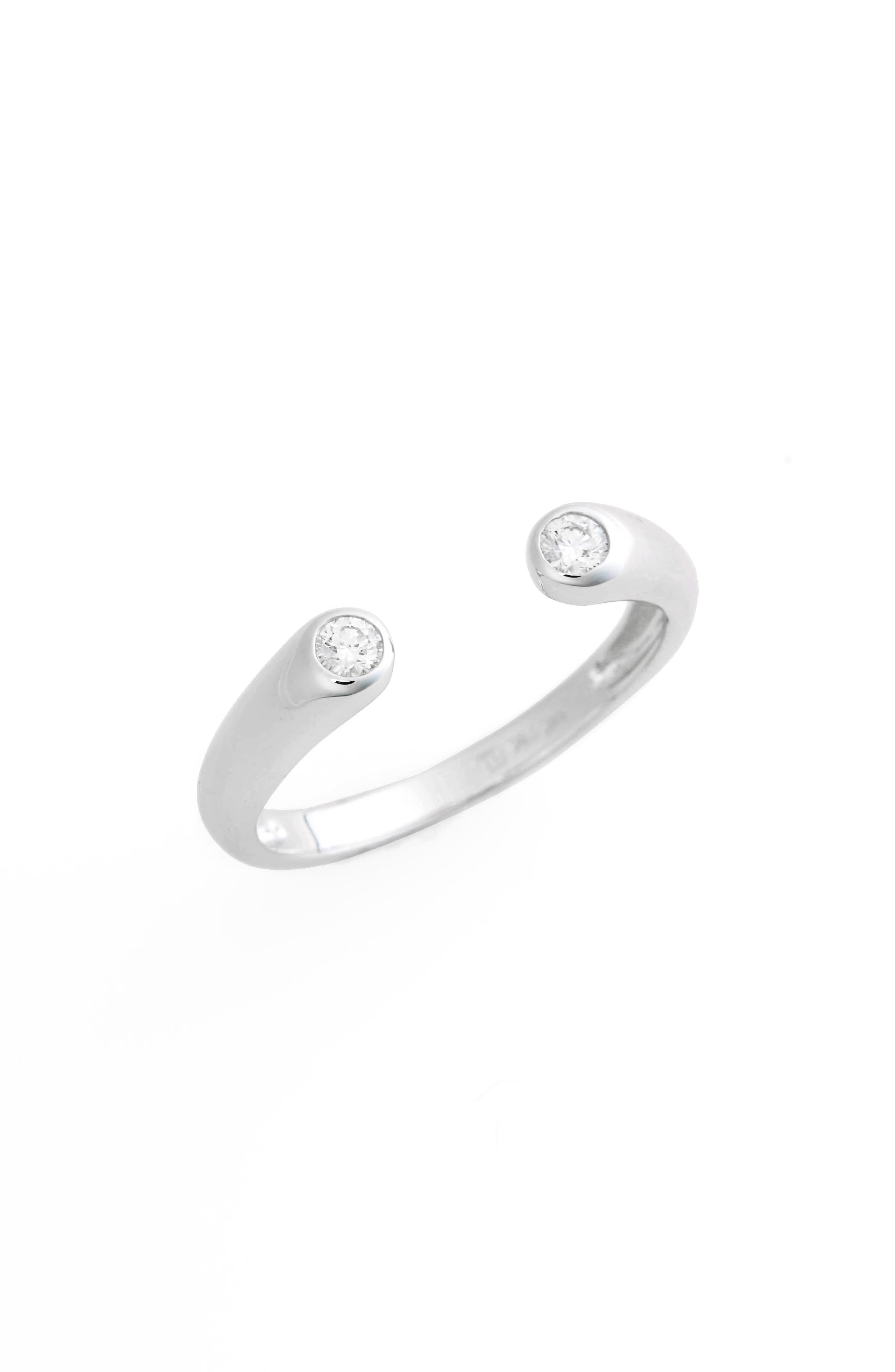 Open Cuff Diamond Ring,                             Main thumbnail 1, color,                             White Gold