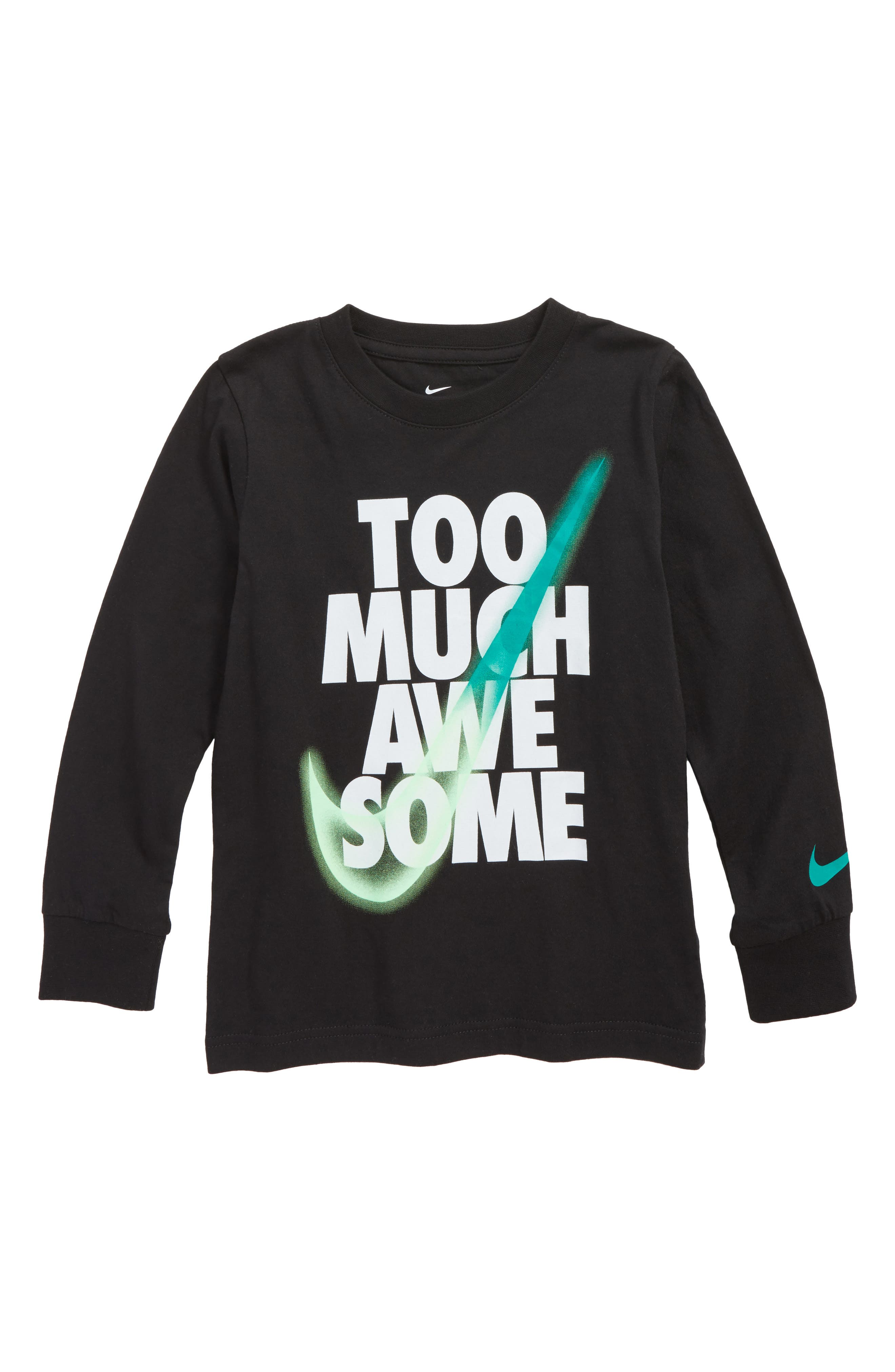 Too Much Awesome Graphic T-Shirt,                             Main thumbnail 1, color,                             Black