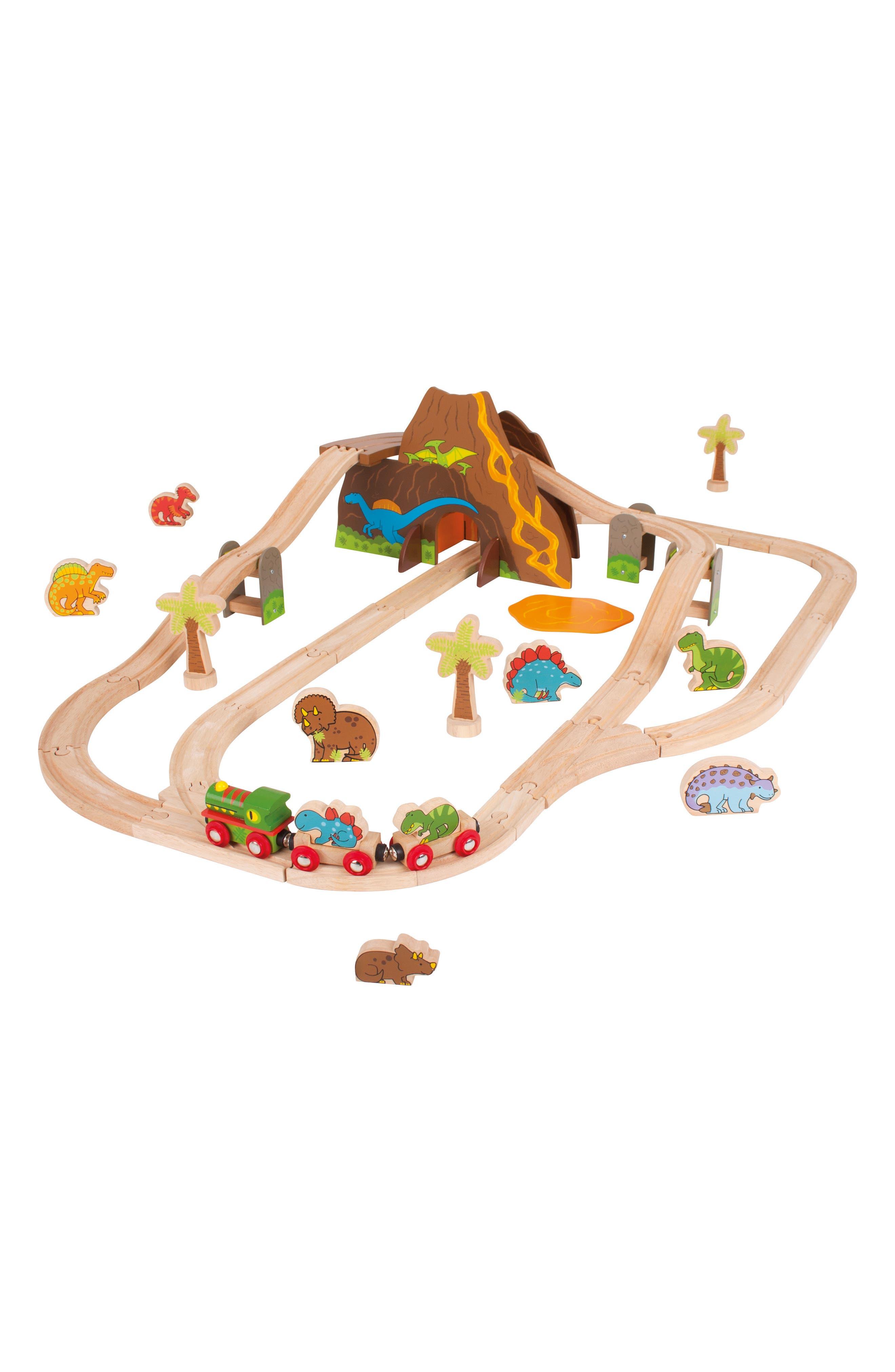 49-Piece Dinosaur Wooden Train Set,                         Main,                         color, Brown