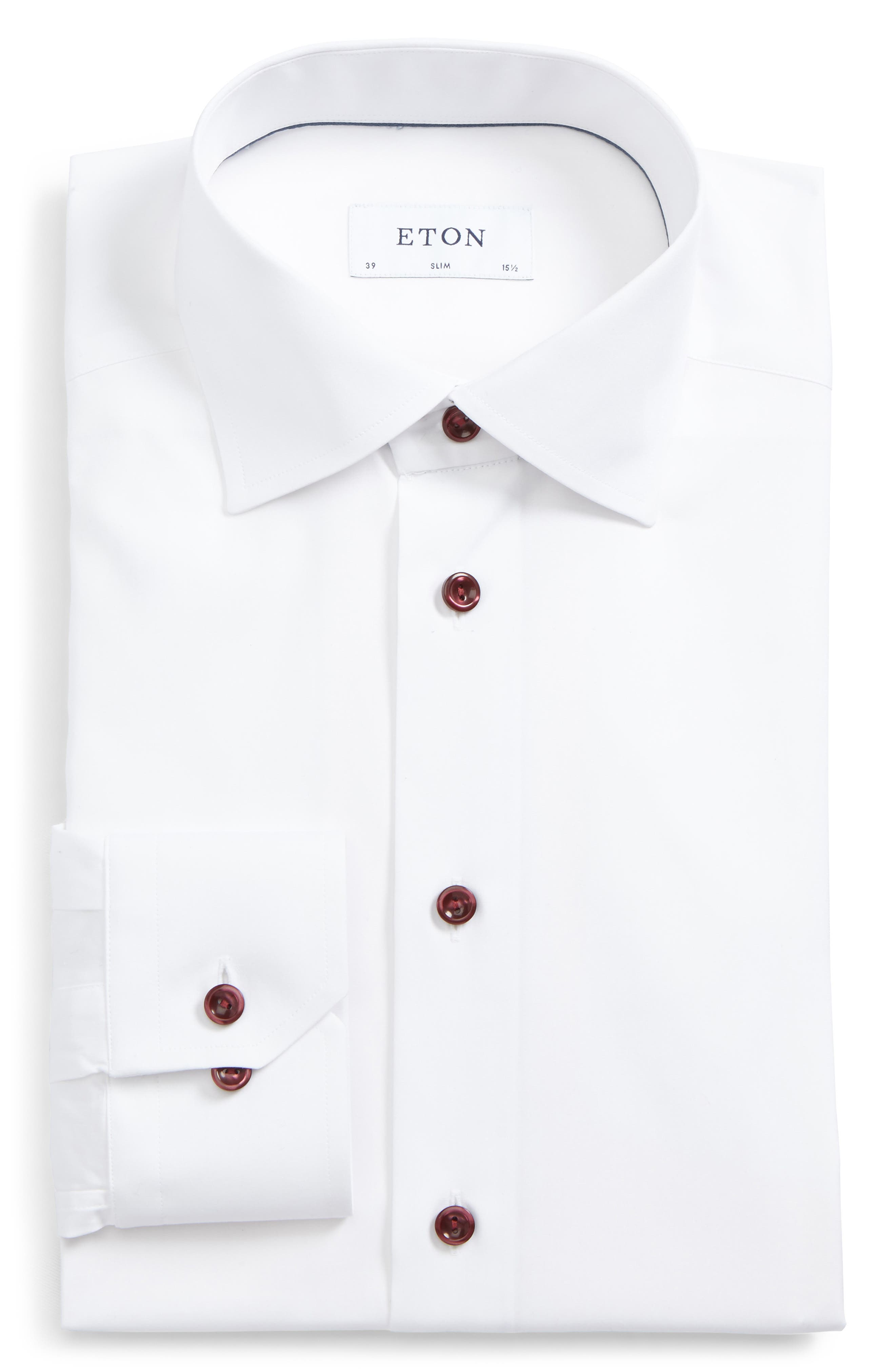 Eton Slim Fit Solid Poplin Dress Shirt