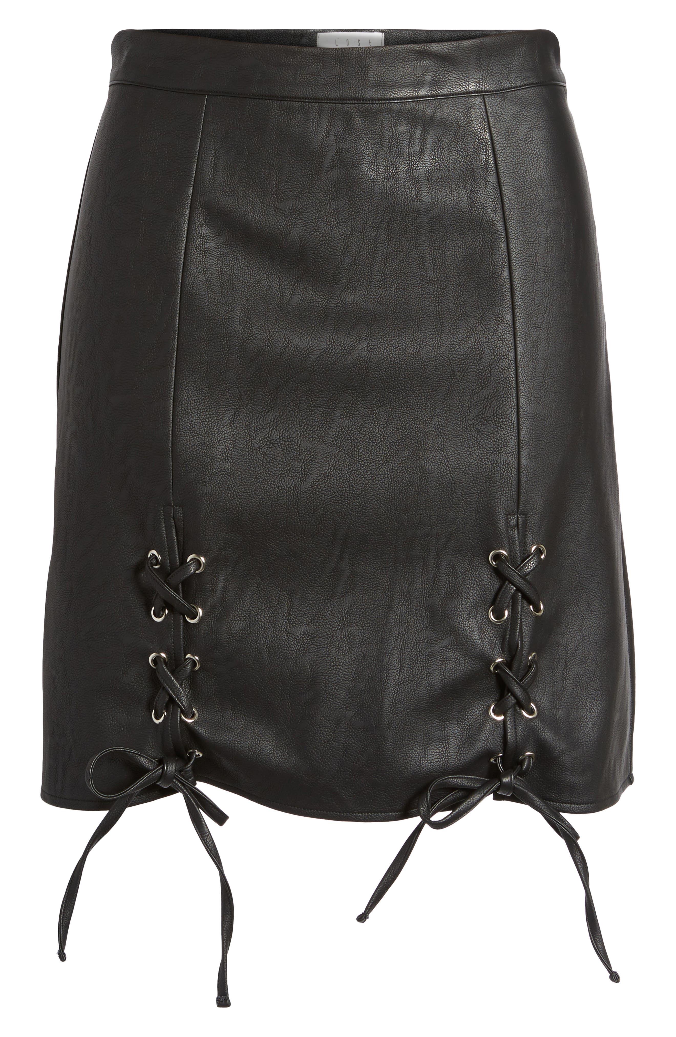 Dakota Lace Up Faux Leather Skirt,                             Alternate thumbnail 7, color,                             Black